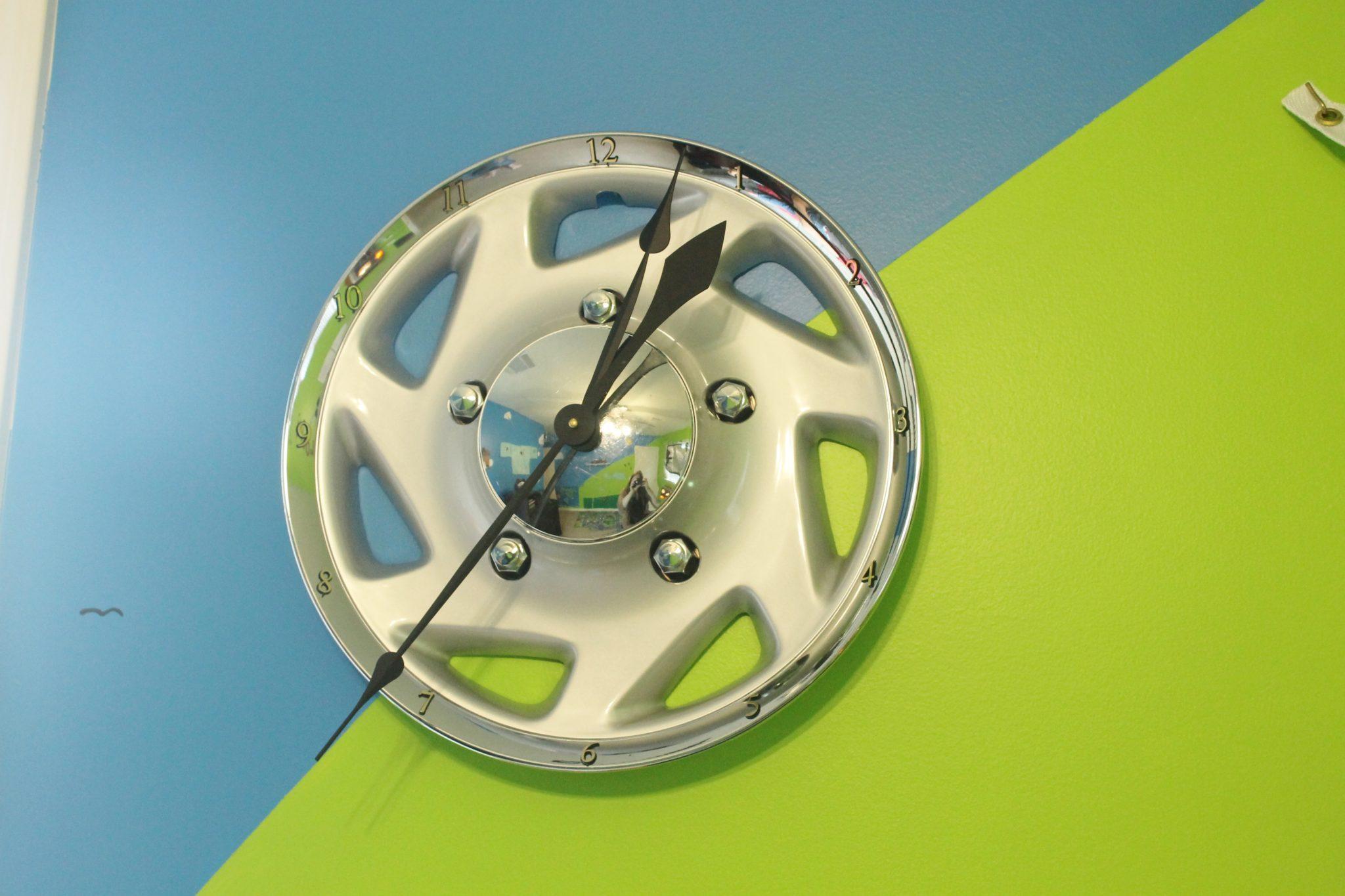 boy decor hubcap clock