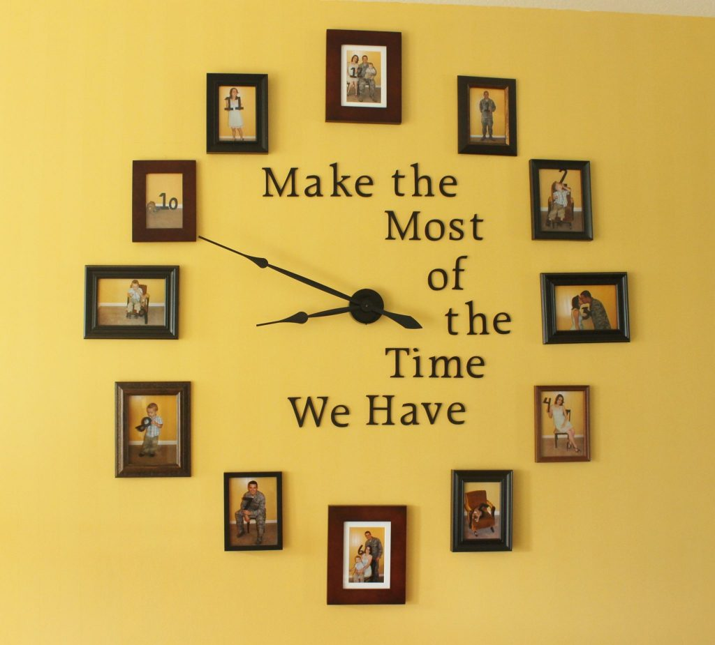 "This DIY Photo Wall Clock will make a gorgeous centerpiece to your favorite room. Display your family photos while creating a useful wall clock and reminding yourself to ""make the most of the time we have."" 