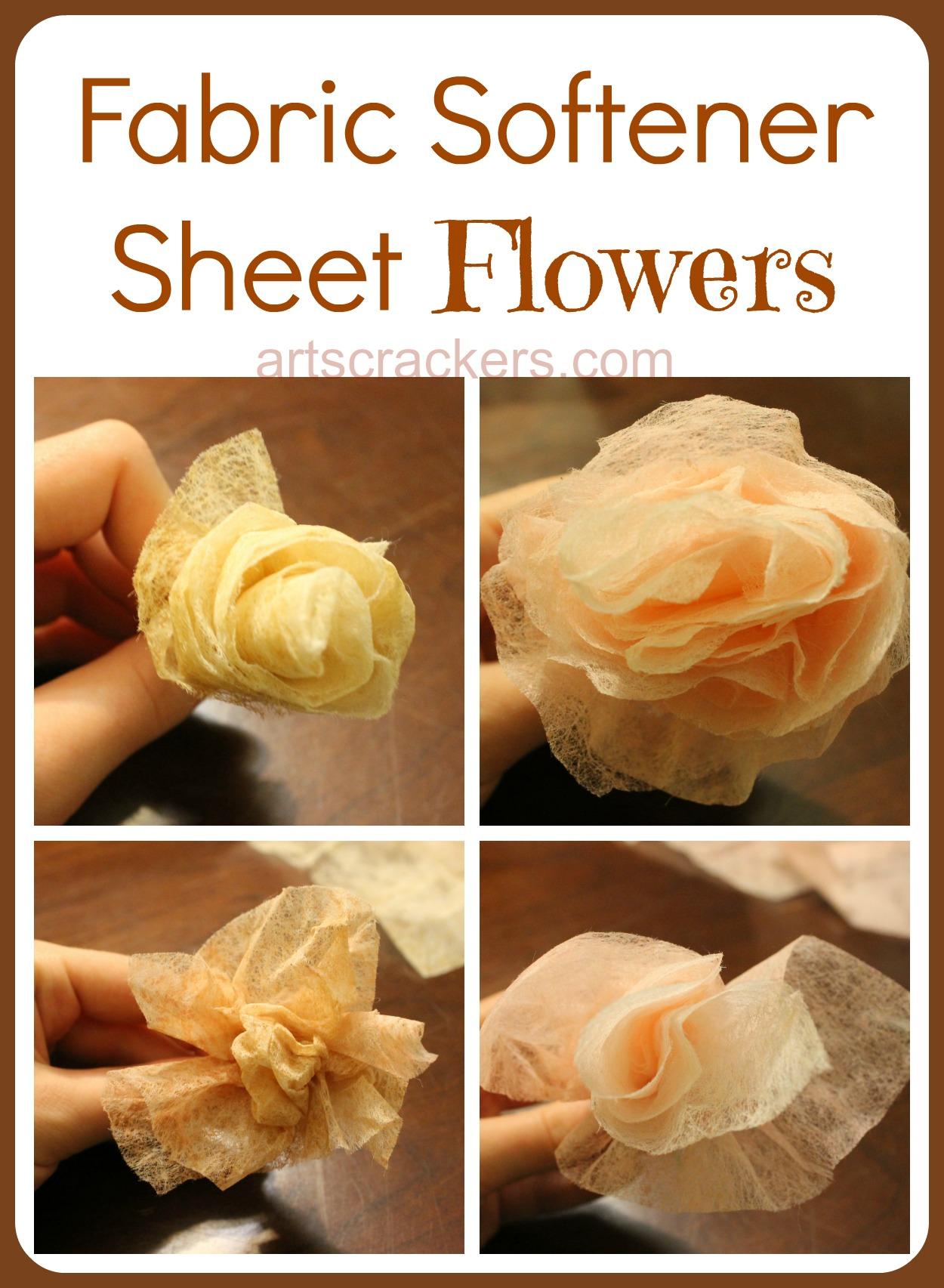 Fabric Softener Sheet Flowers Tutorial. Click the picture to view the tutorial.