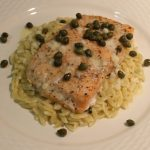 baked salmon with capers and orzo