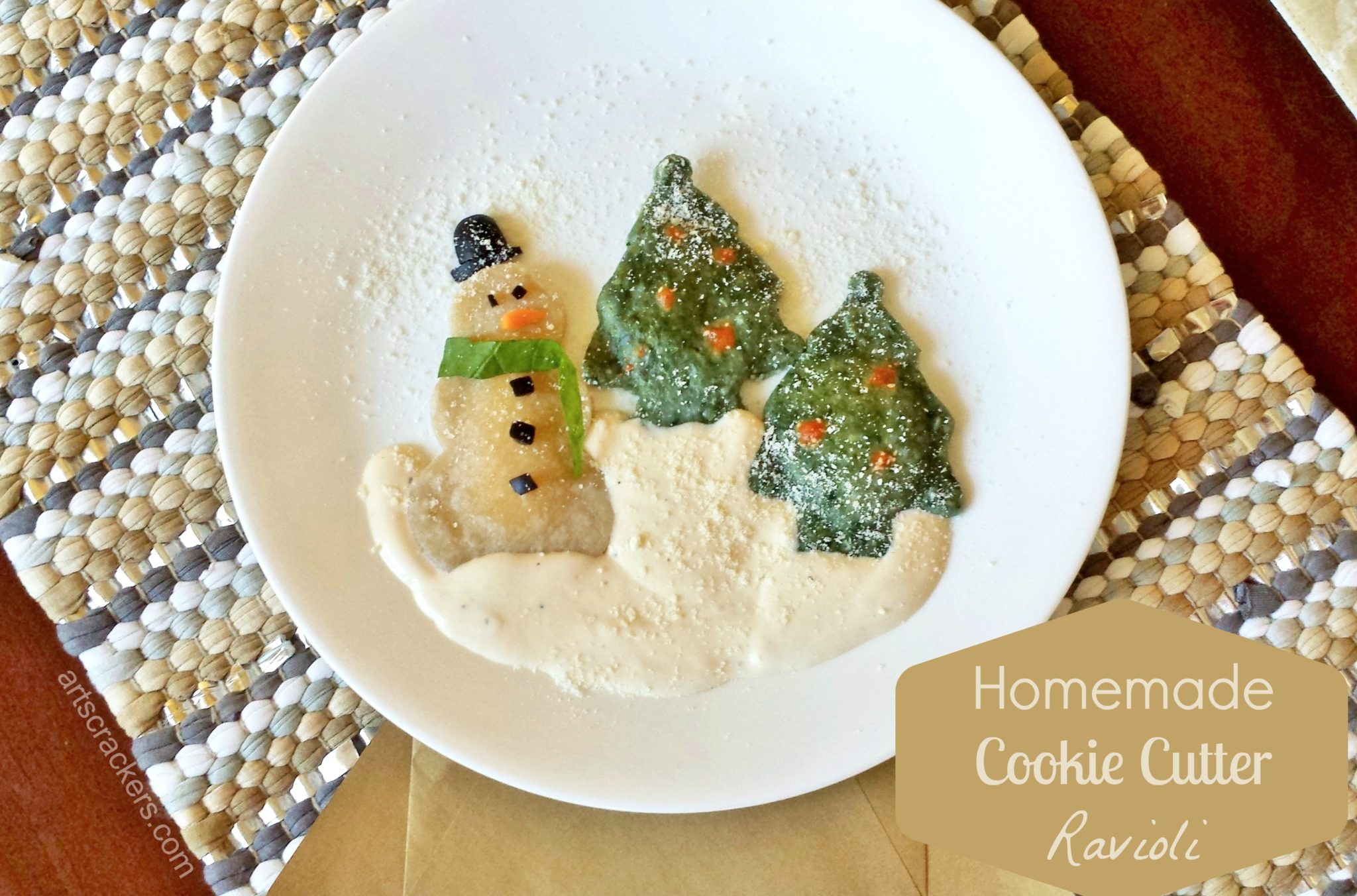 Homemade Cookie Cutter Ravioli Snowglobe