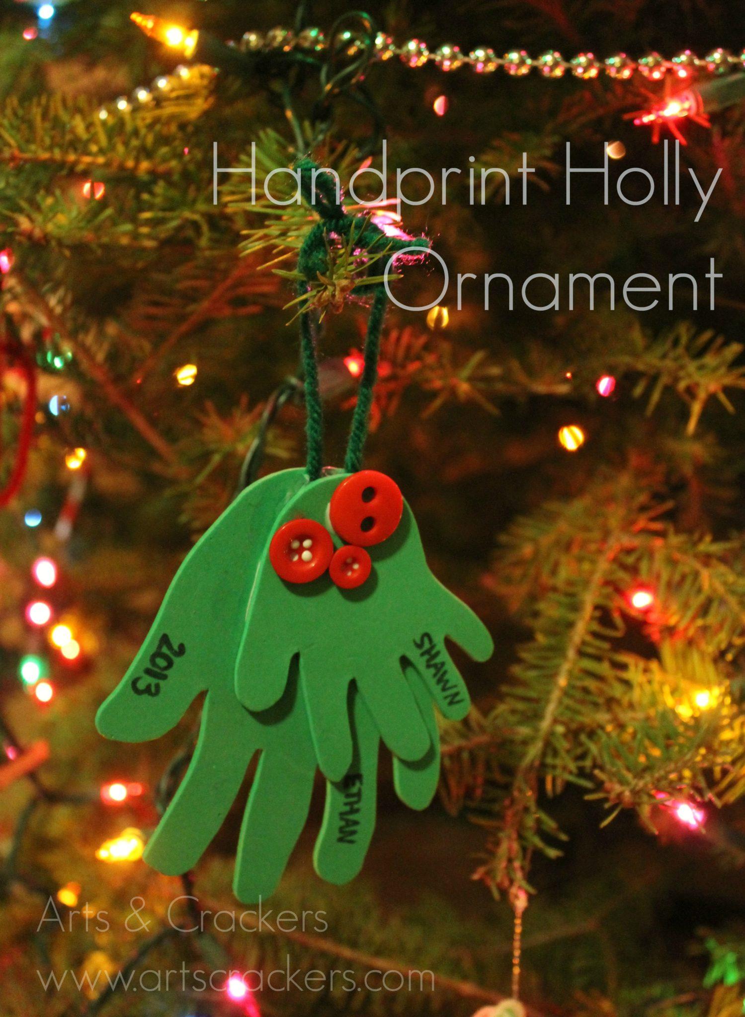 Handprint Holly Ornament Craft