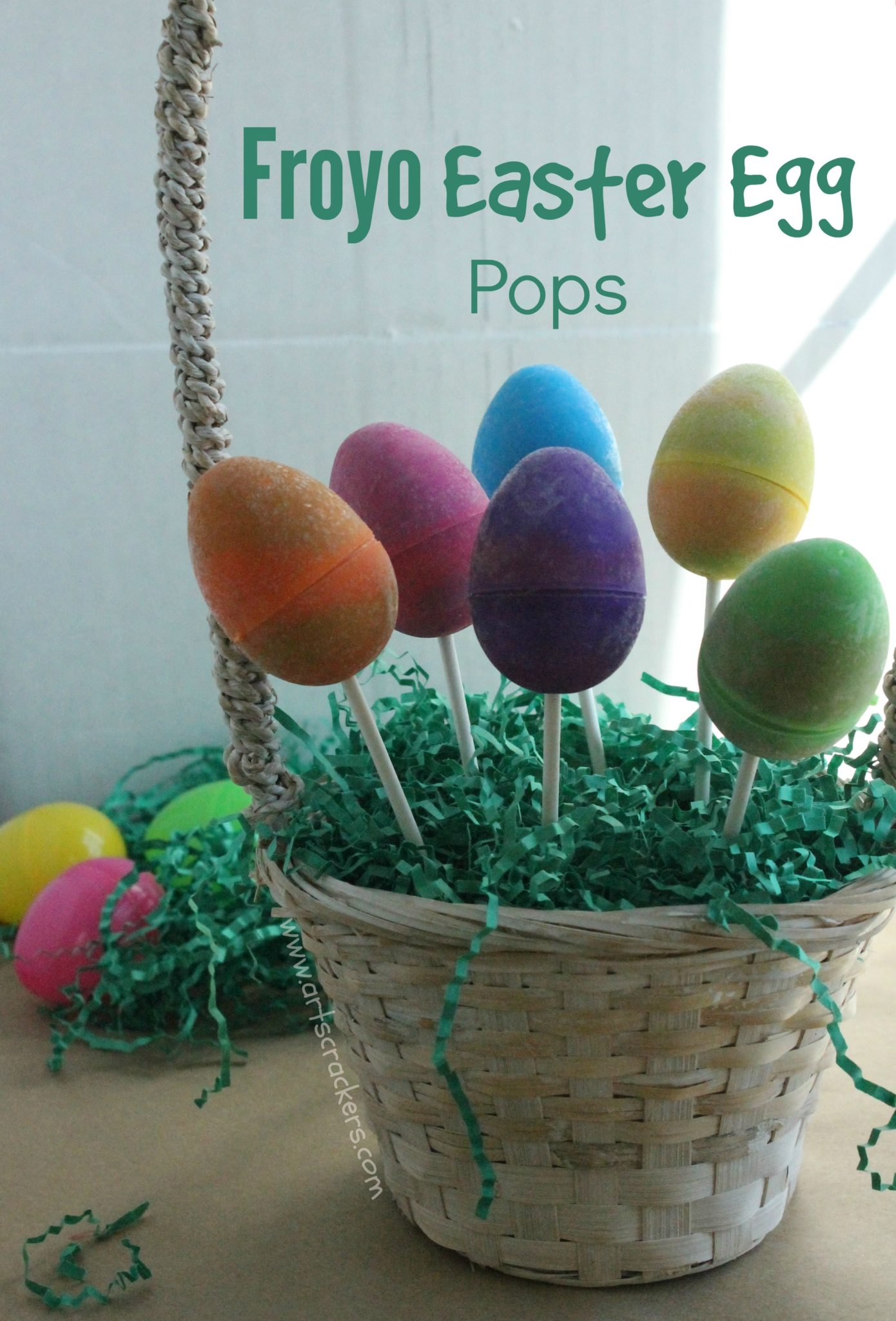 frozen yogurt easter egg pops in a basket