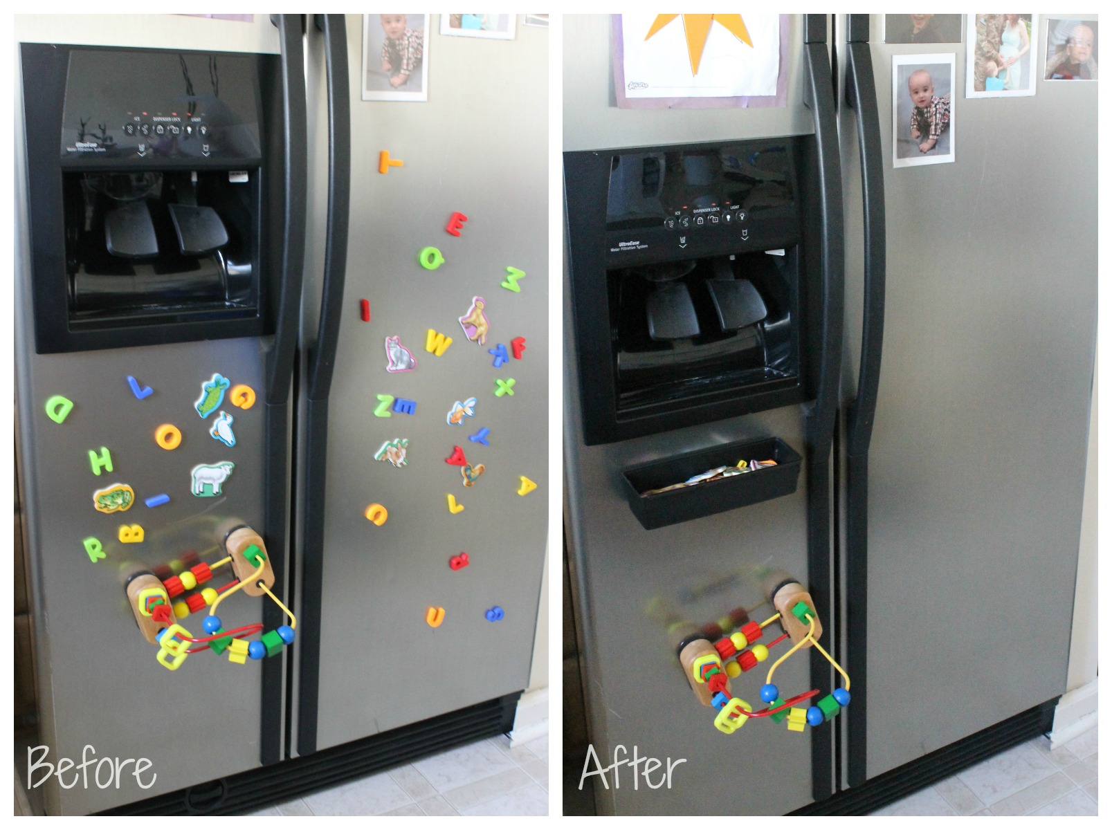 fridge magnet organizer before and after