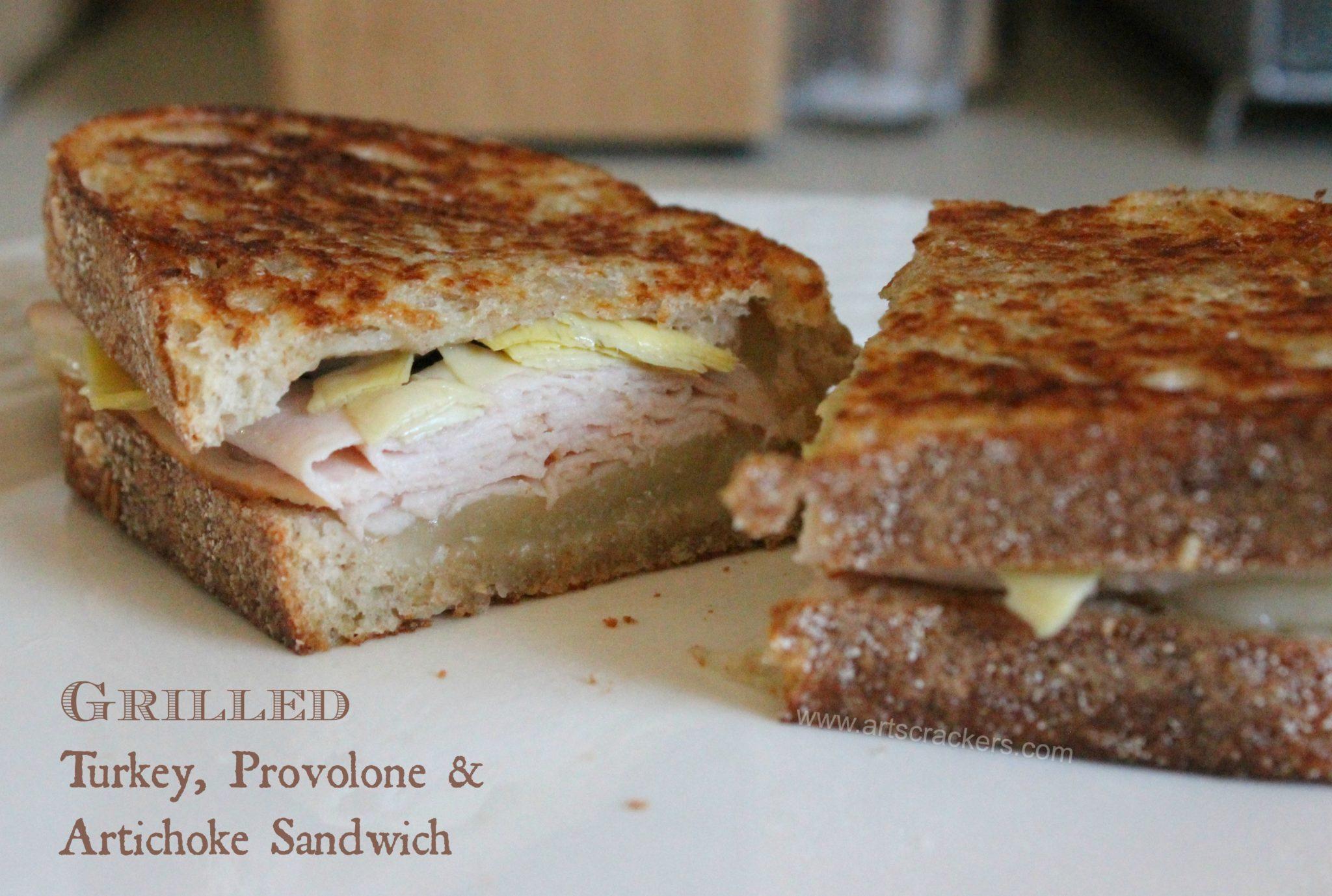 Grilled Turkey Provolone Artichoke Sandwich