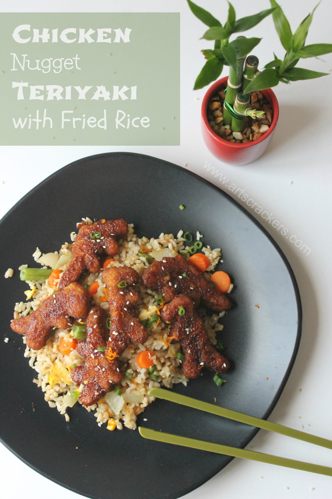 This Chicken Nugget Teriyaki with Fried Rice Recipe is delicious and fun for the whole family. This can be made with fresh chicken nuggets, frozen chicken nuggets, or just regular pieces of chicken | Chicken Recipes | Chicken Nuggets | Chicken Teriyaki | Asian Recipes | Fried Rice | Chinese Food | Chinese Food Recipes | Teriyaki Recipe | Teriyaki Sauce | Kid Friendly Recipes | Soy Sauce