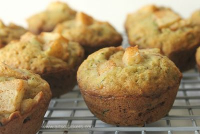 Cinnamon Apple Zucchini Muffins on Cooling Rack