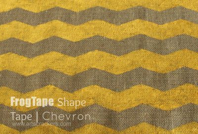 FrogTape Chevron Shape Tape Painting on Burlap