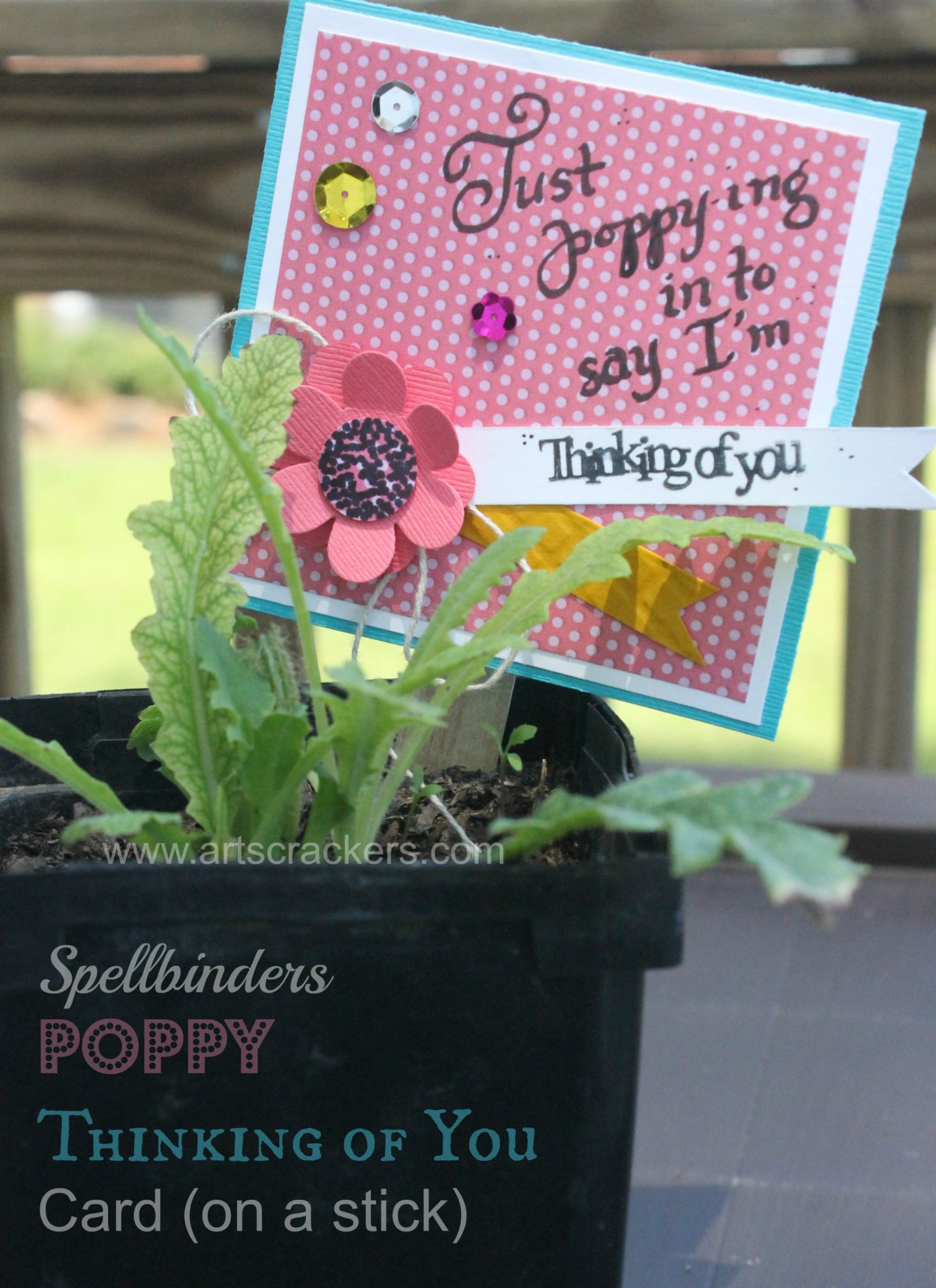 Flower Planter Poppy Thinking of You Paper Craft Project Idea