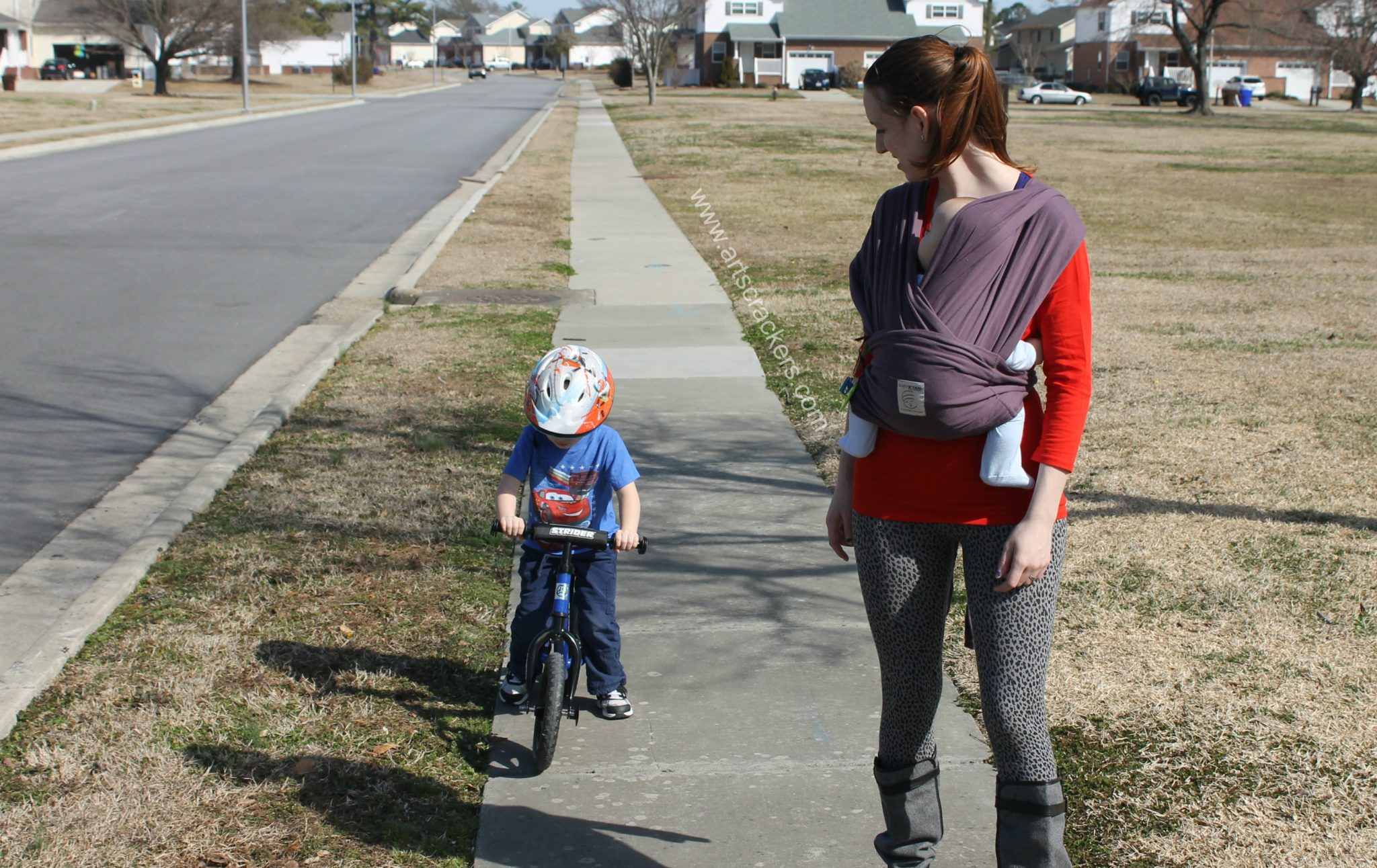 Strider Bike Riding and Baby Wearing On a Walk