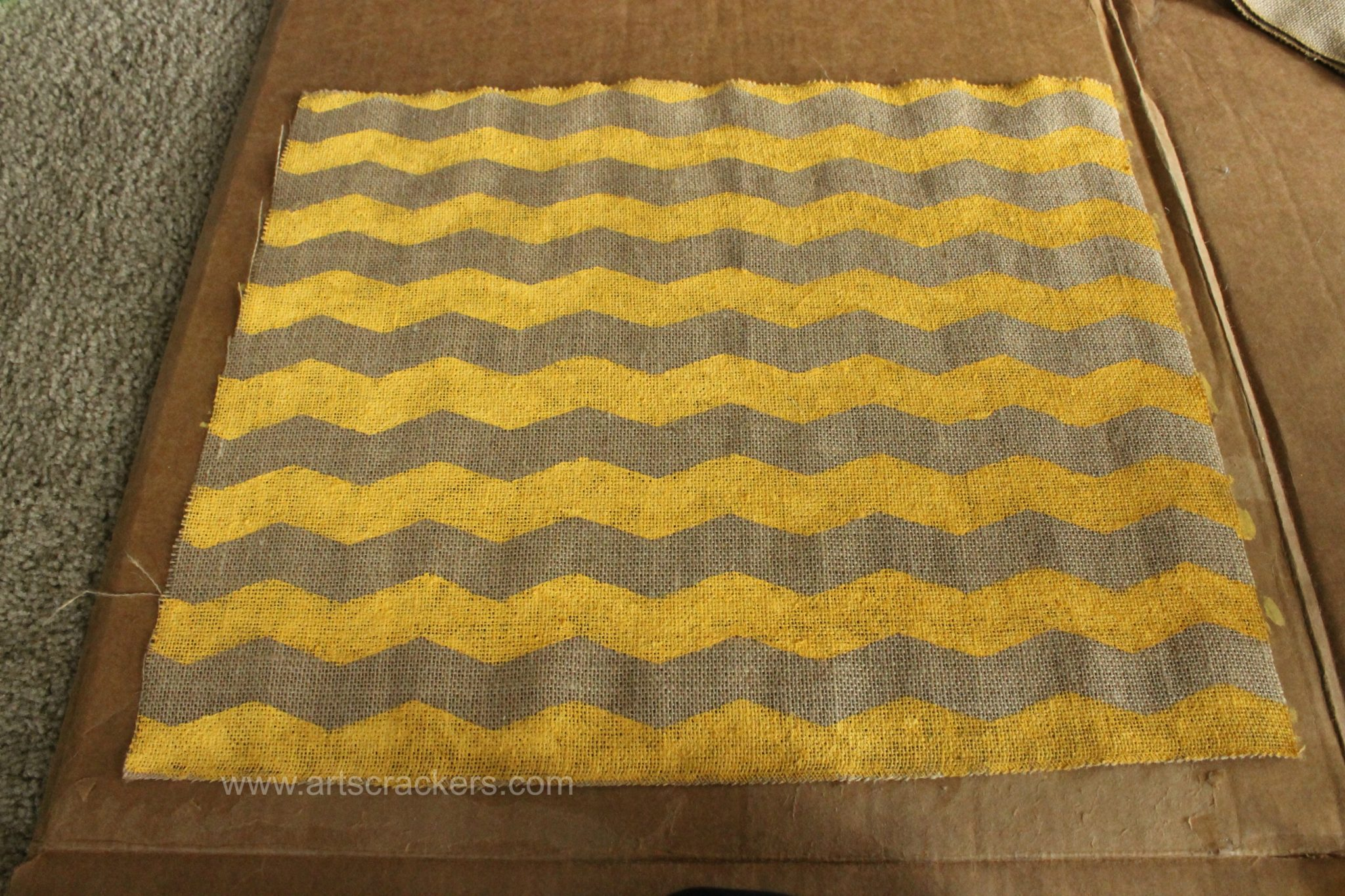 Chevron Design FrogTape Painted Burlap Pillow