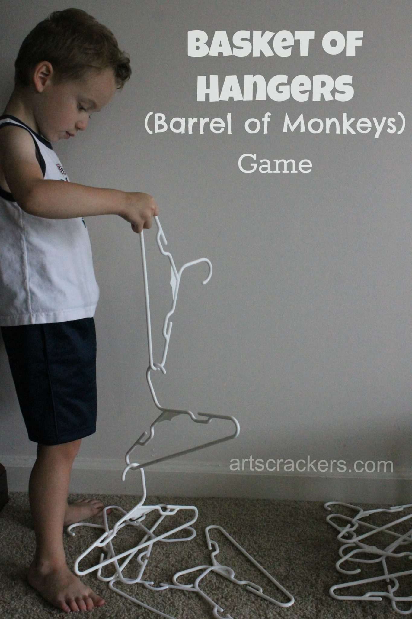 DIY Barrel of Monkeys Game Using Hangers