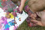 Toddler Outdoor Canvas Painting Project