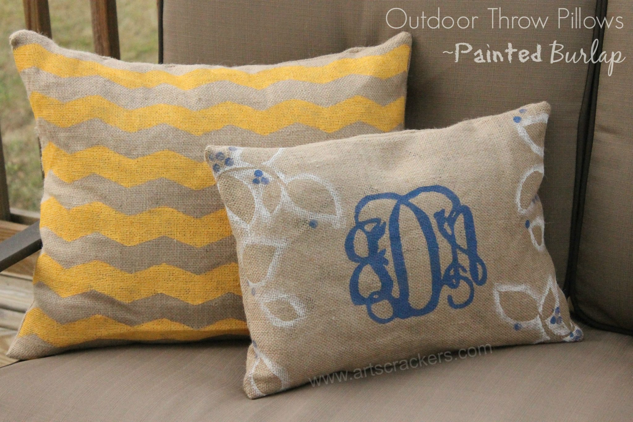 Outdoor Throw Pillows Painted Burlap