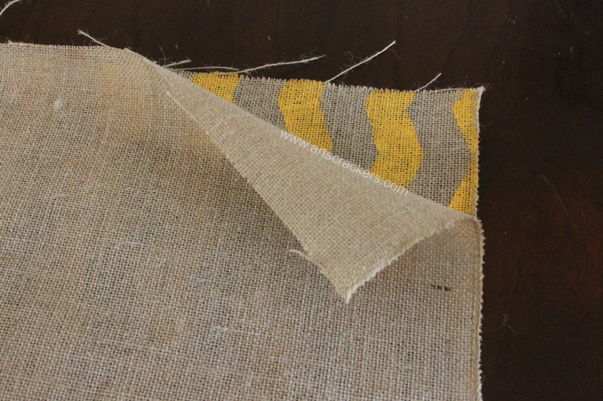 Sewing Burlap Pillows Step 1 Inside Out