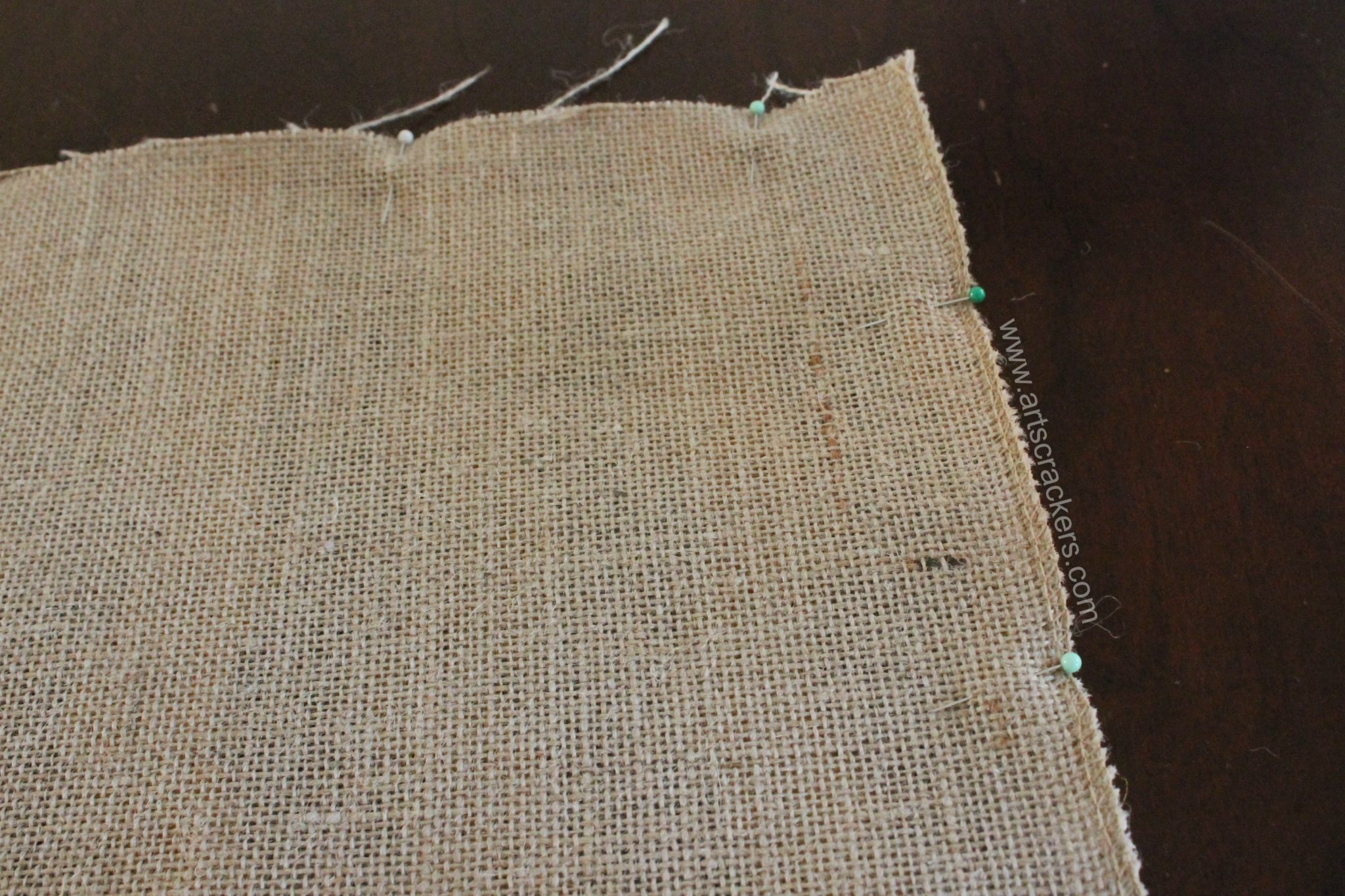 Sewing Burlap Pillows Step 2 Pinning