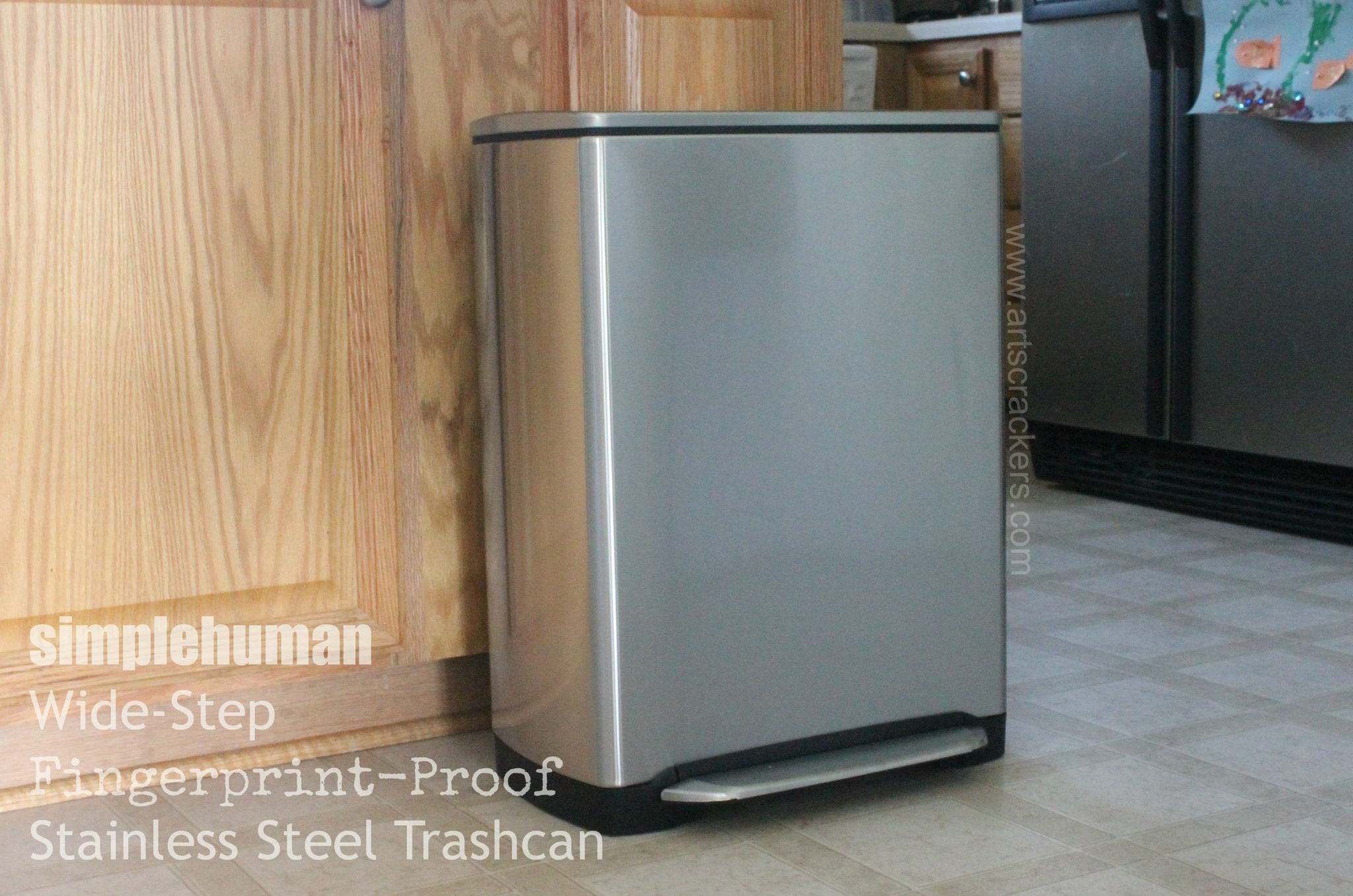 SimpleHuman Wide Step Fingerprint Proof Stainless Steel Trashcan