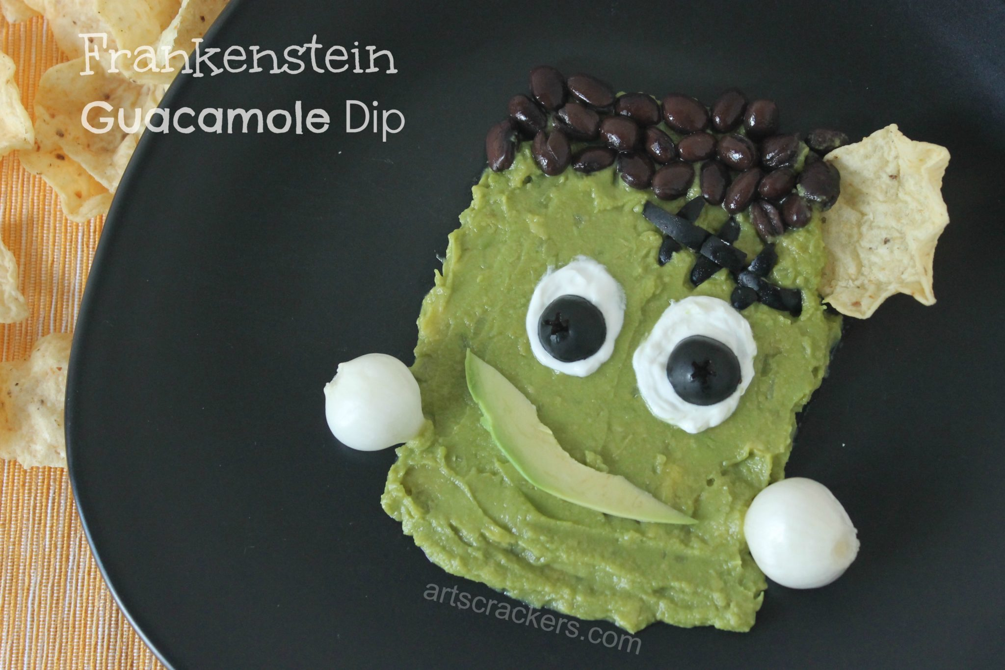 Frankenstein Guacamole Dip with Chip
