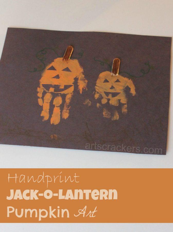 Fall Halloween Handprint Jack O Lantern Pumpkin Art