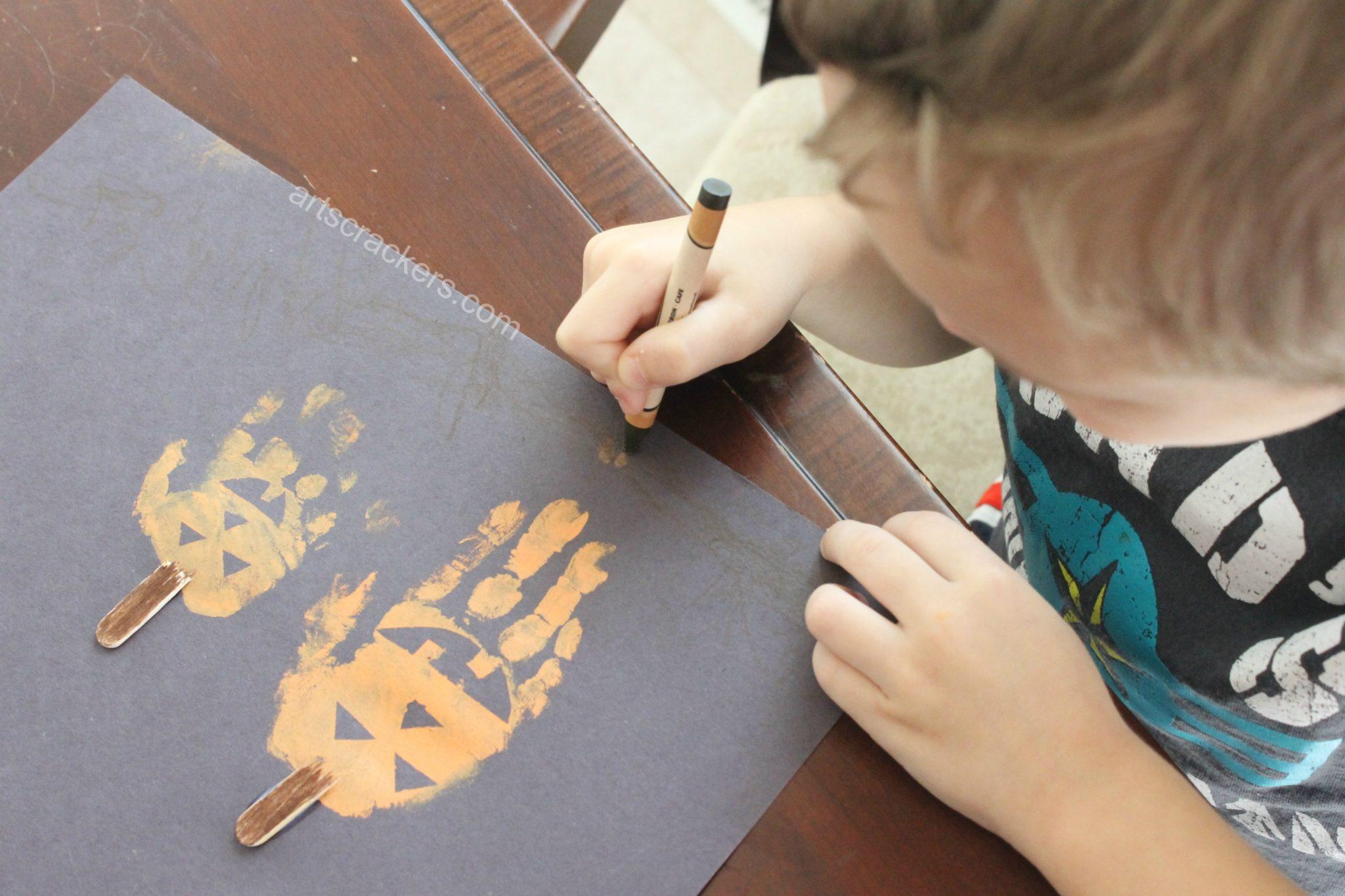 Handprint Pumpkins Dirt