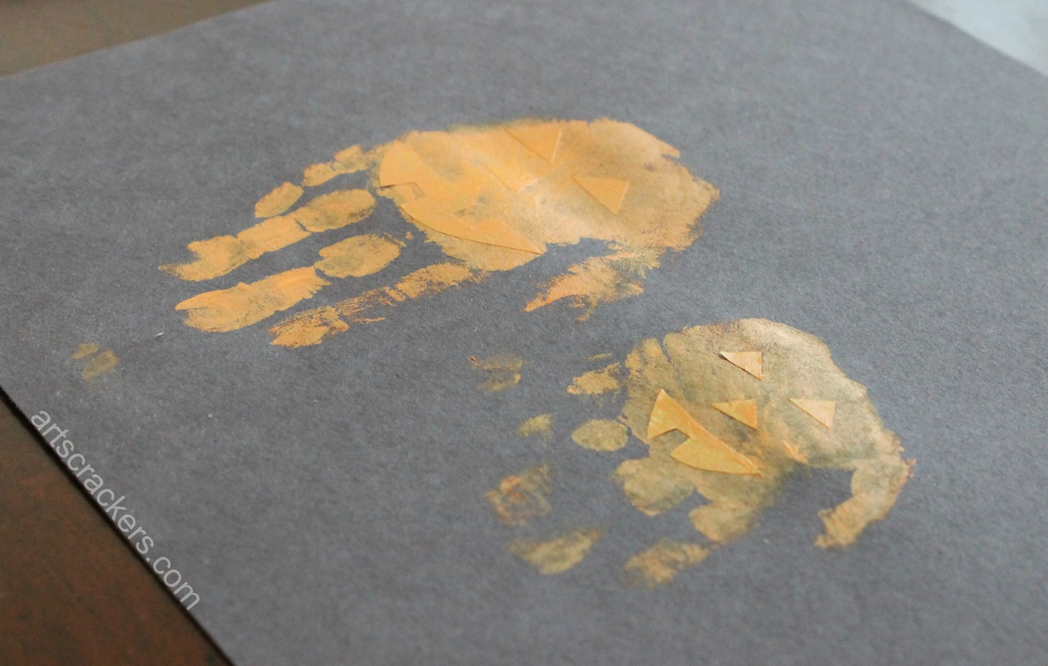 Handprint Pumpkins Remove Tape