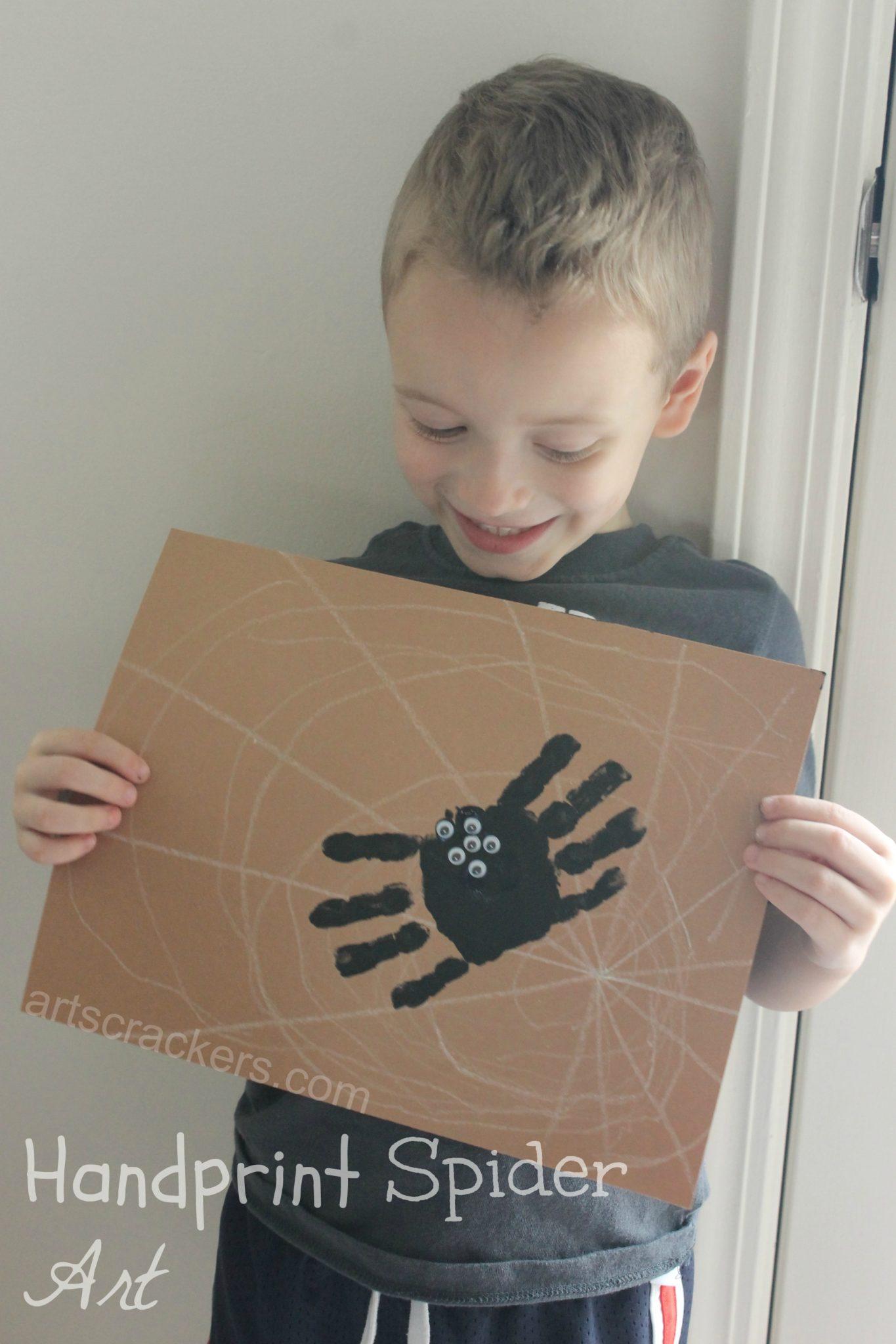 Handprint Spider on Web Art