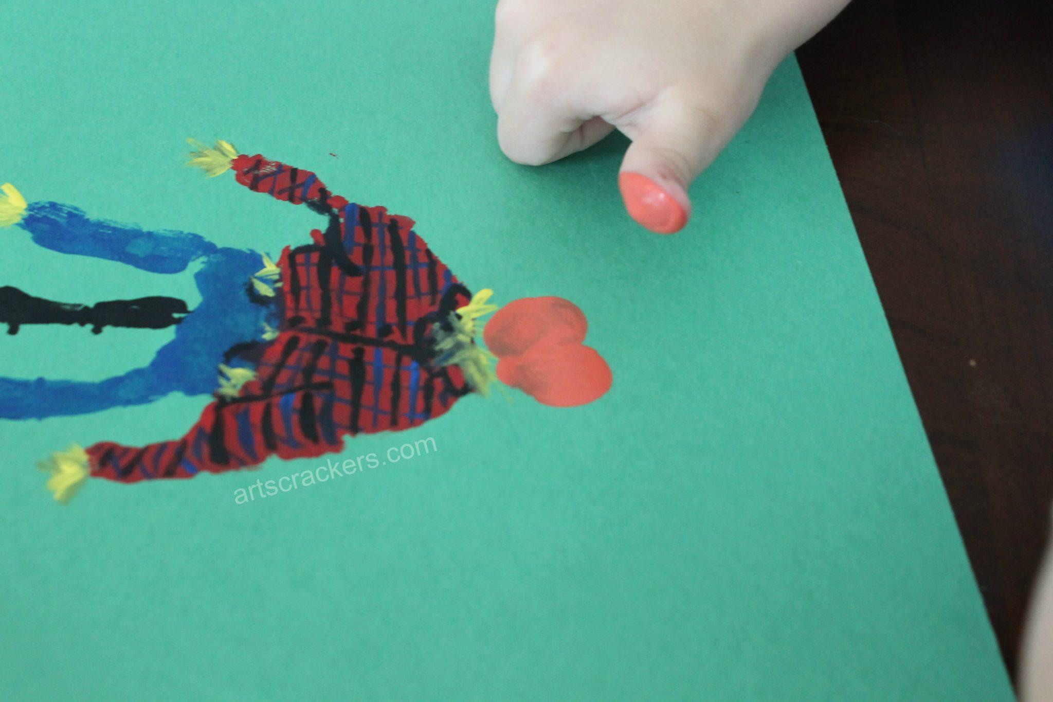 Handprint Scarecrow Pumpkin Head