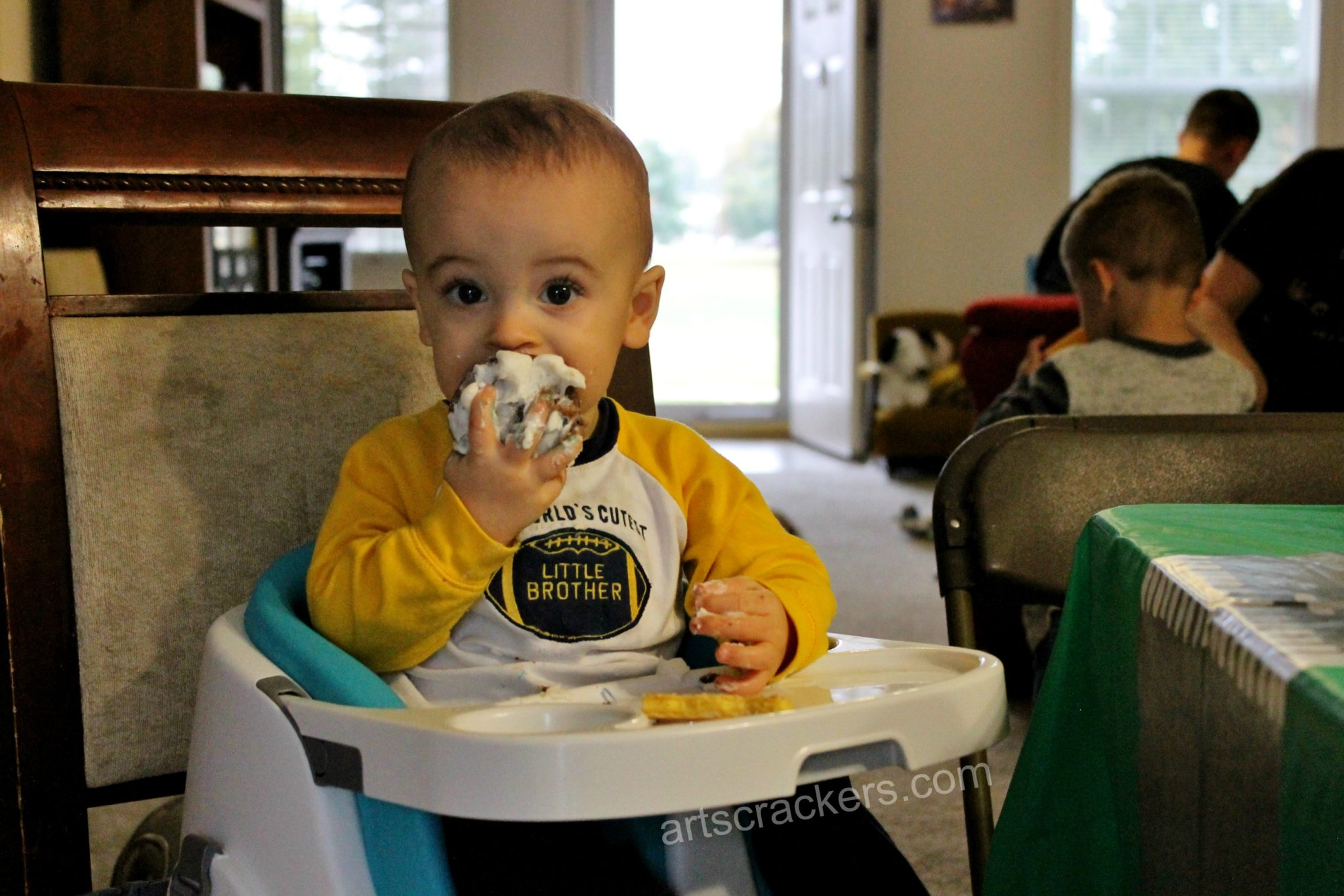 First in Flight Birthday Boy Eating Cupcake