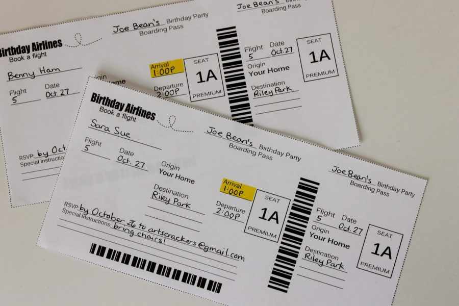 Airline Ticket Themed Birthday Party Invitations
