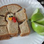 Turkey-Shaped Turkey Sandwich Lunch Idea