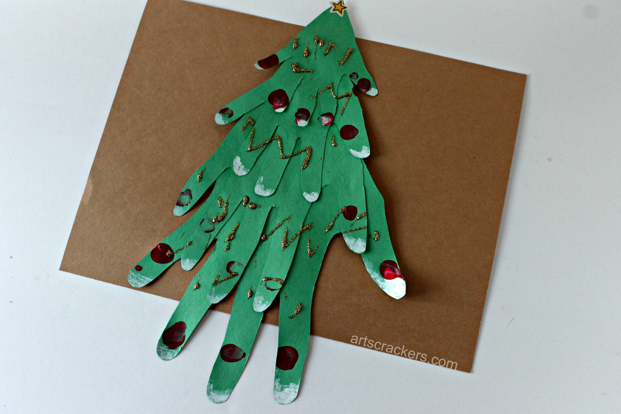 Handprint Christmas Tree Brown Background