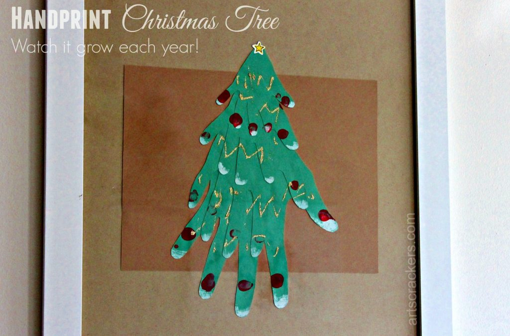 Handprint Christmas Tree Framed Wall Art