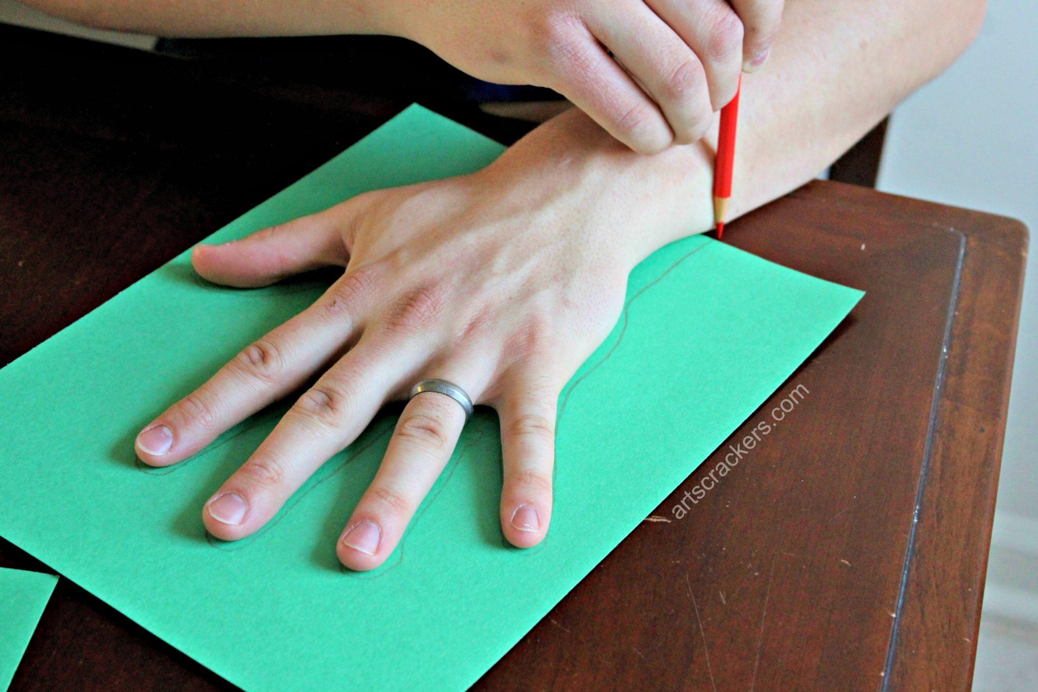 Handprint Christmas Tree Trace Hand
