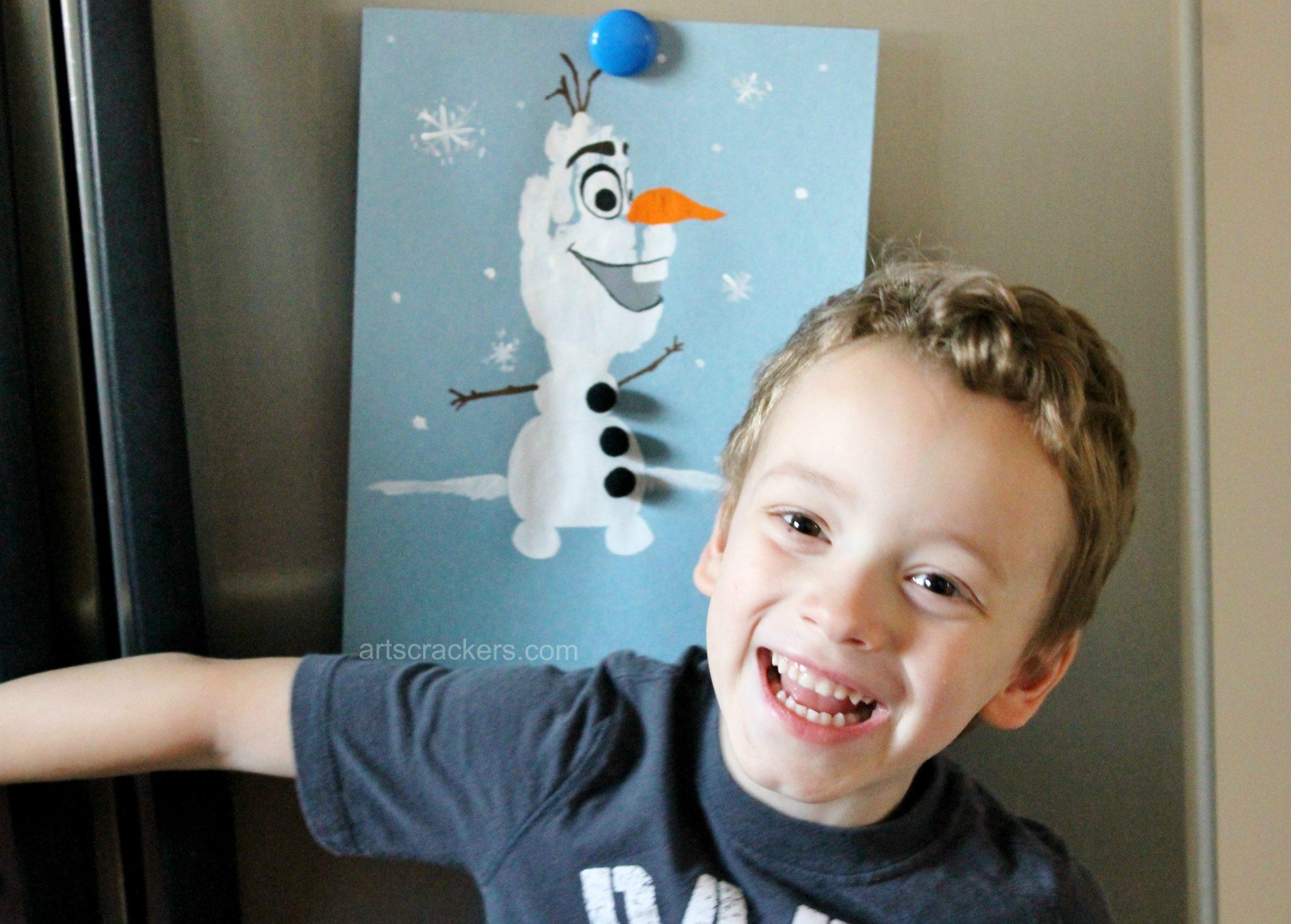 Olaf Handprint Snowman Displayed on Fridge