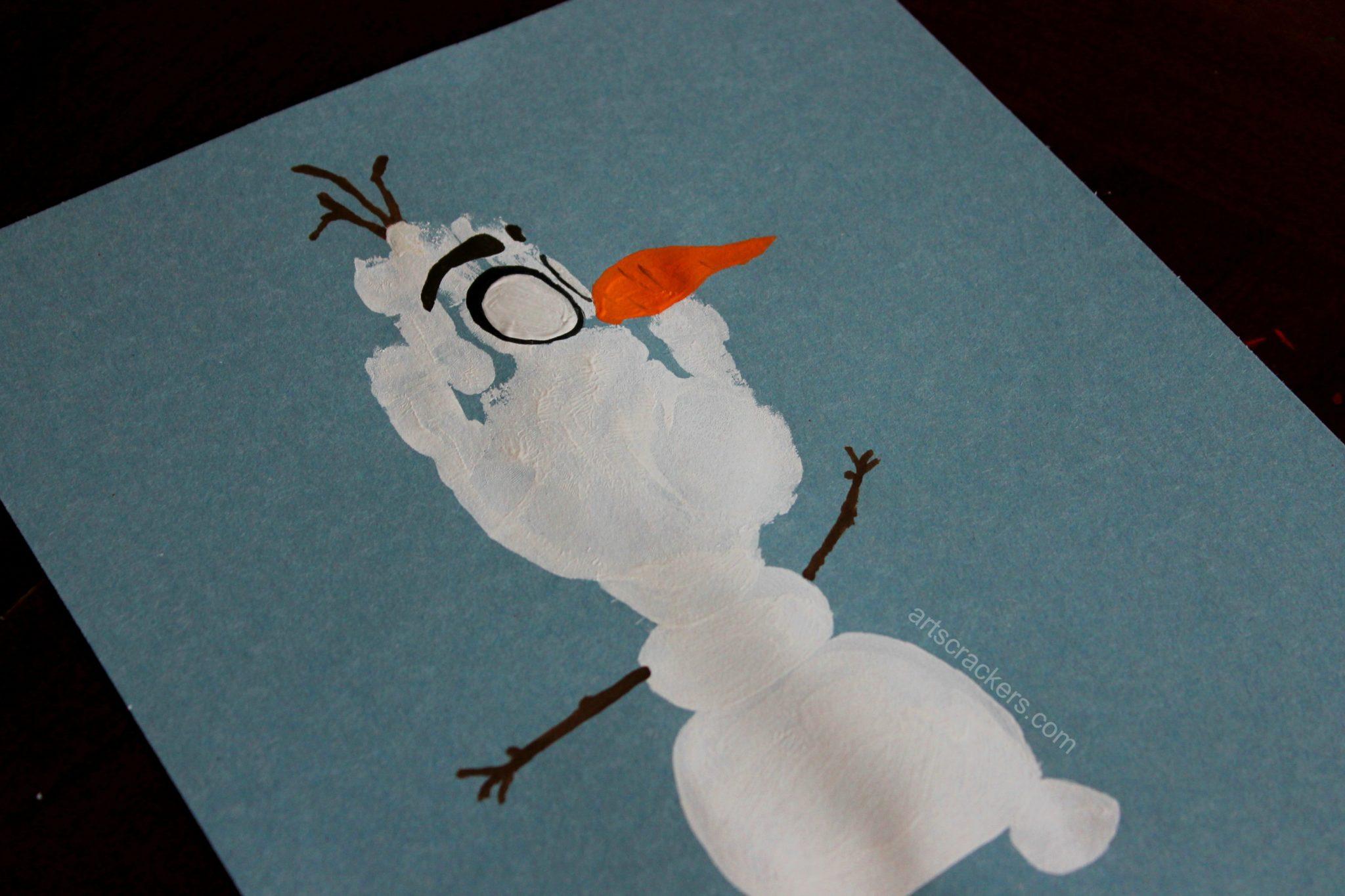 Olaf Handprint Snowman Eyebrows