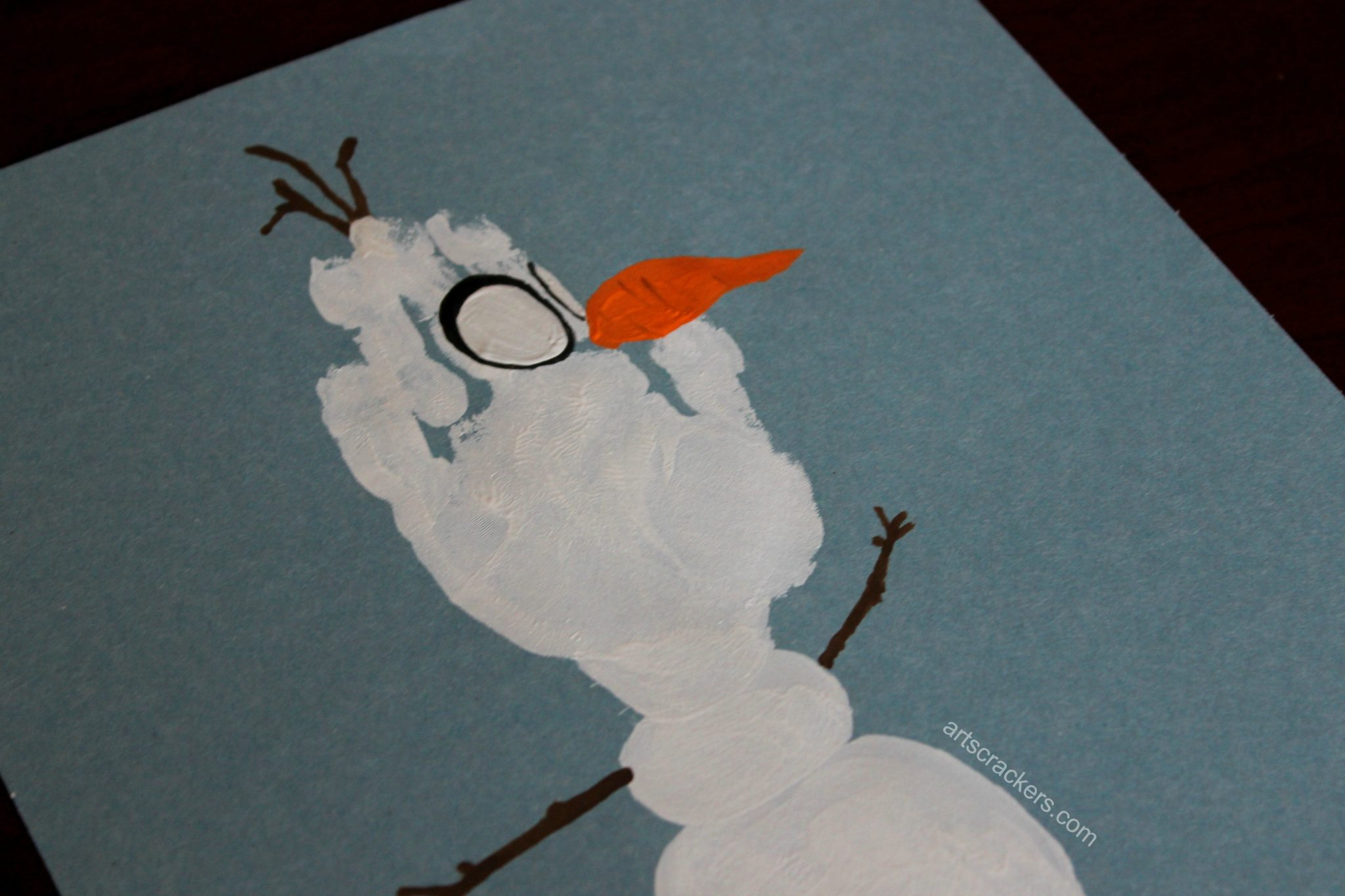 Olaf Handprint Snowman Eyes