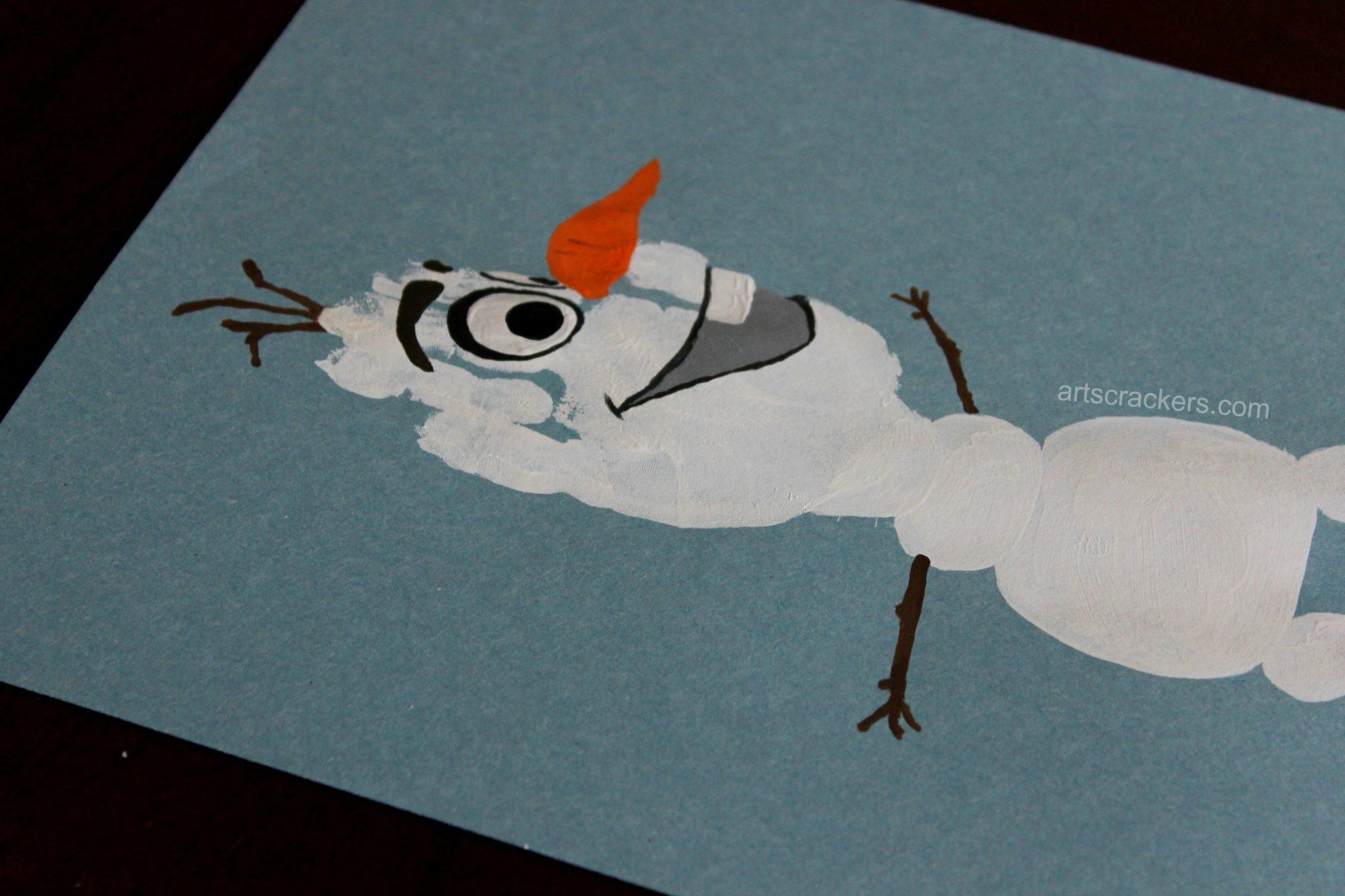 Olaf Handprint Snowman Face