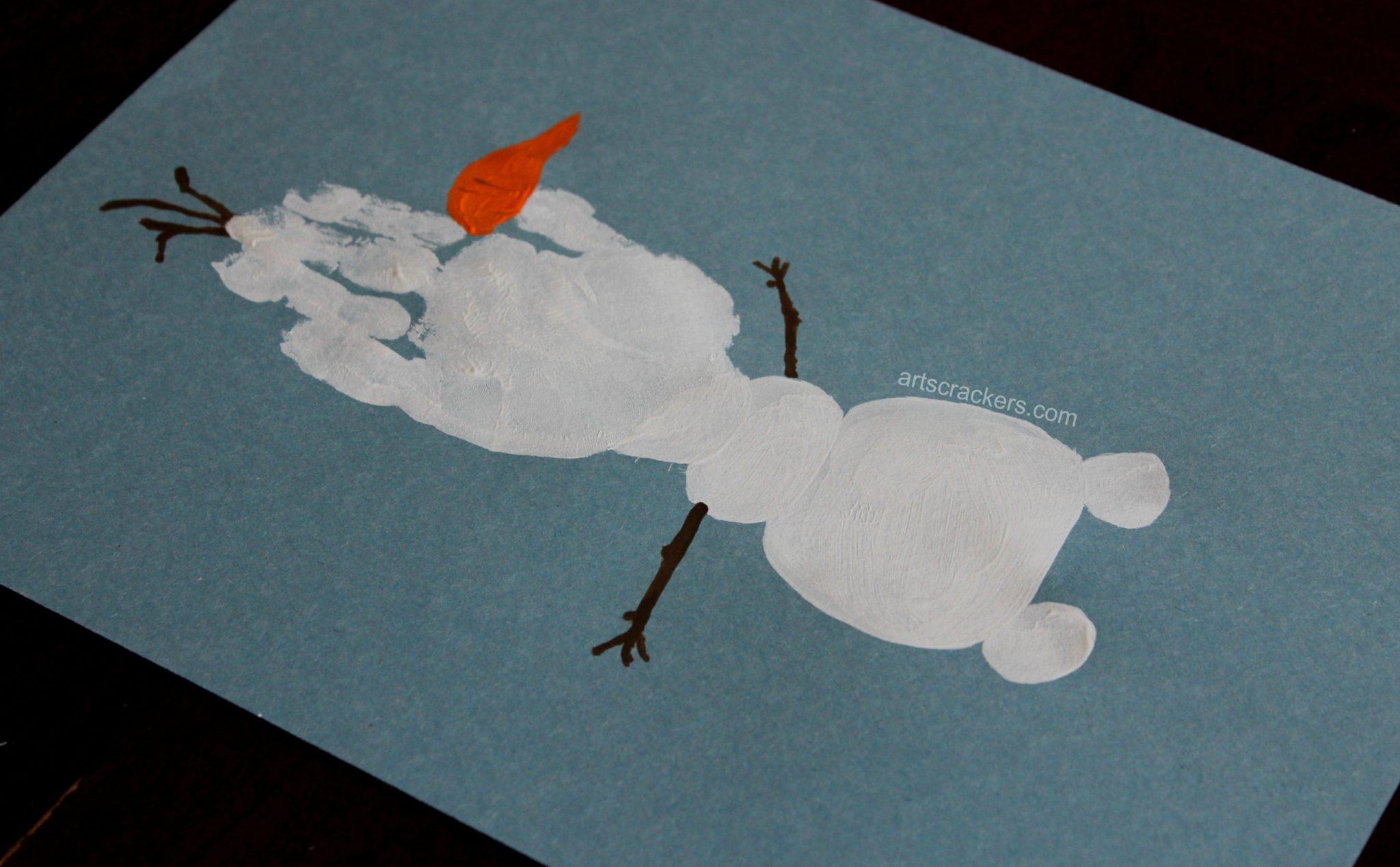 Olaf Handprint Snowman Twigs
