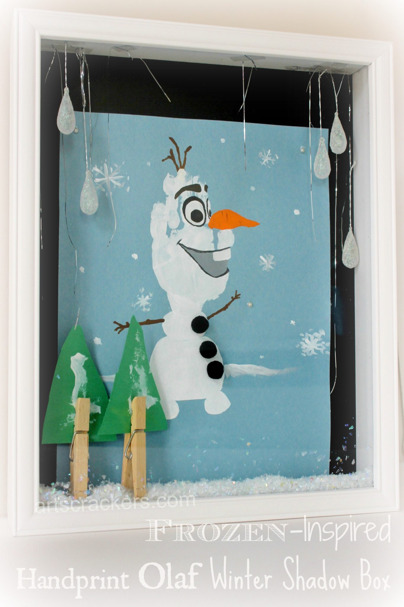 Olaf Handprint Snowman Winter Shadow Box