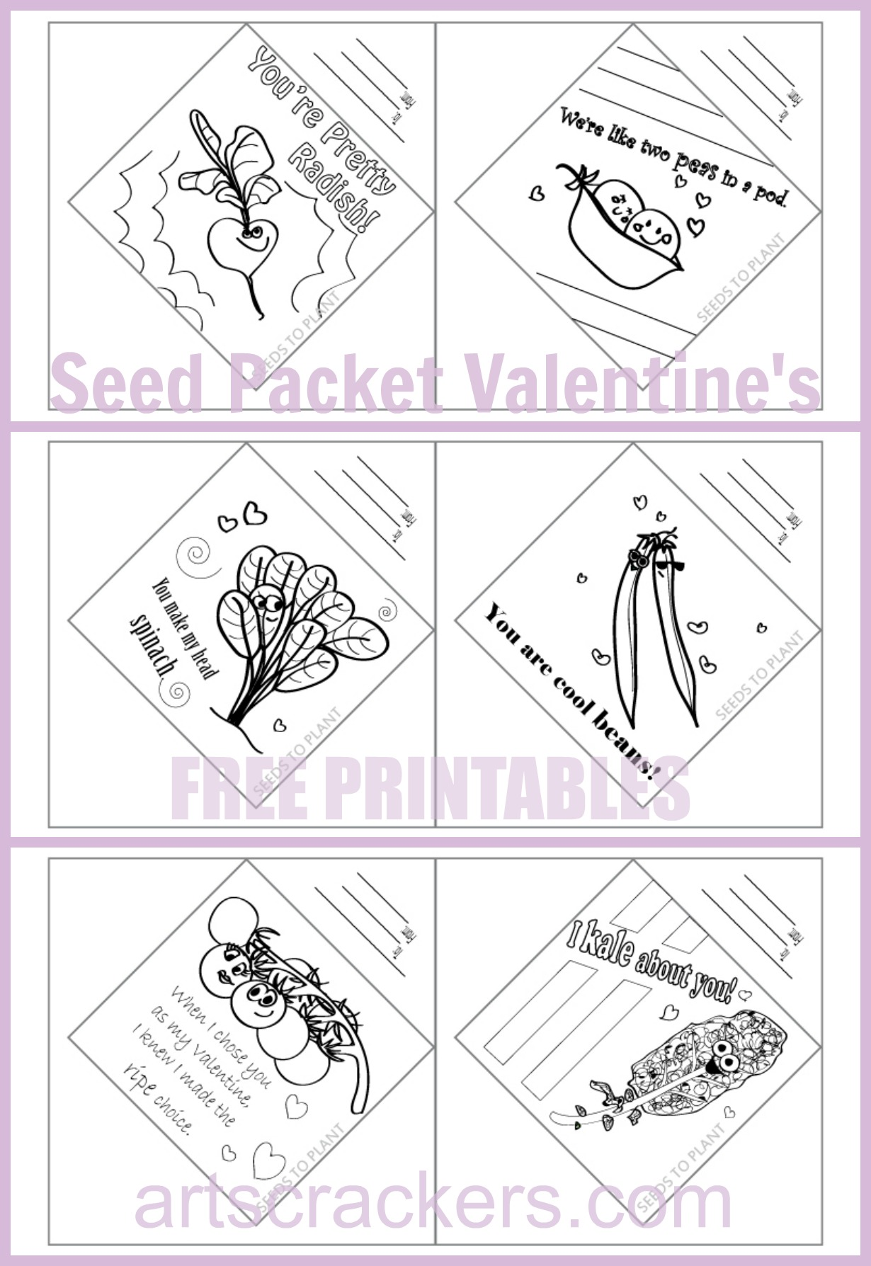 Free Printable Worksheets Packets : Printable seed packet valentines non candy