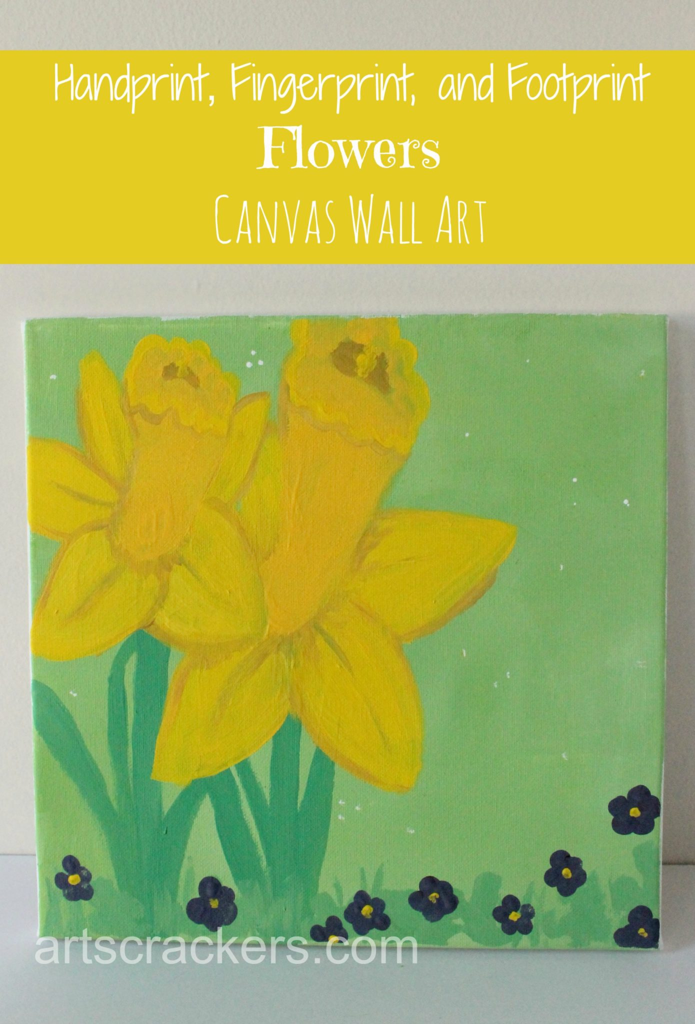 Handprint, Footprint, and Fingerprint Flowers Canvas Wall Art