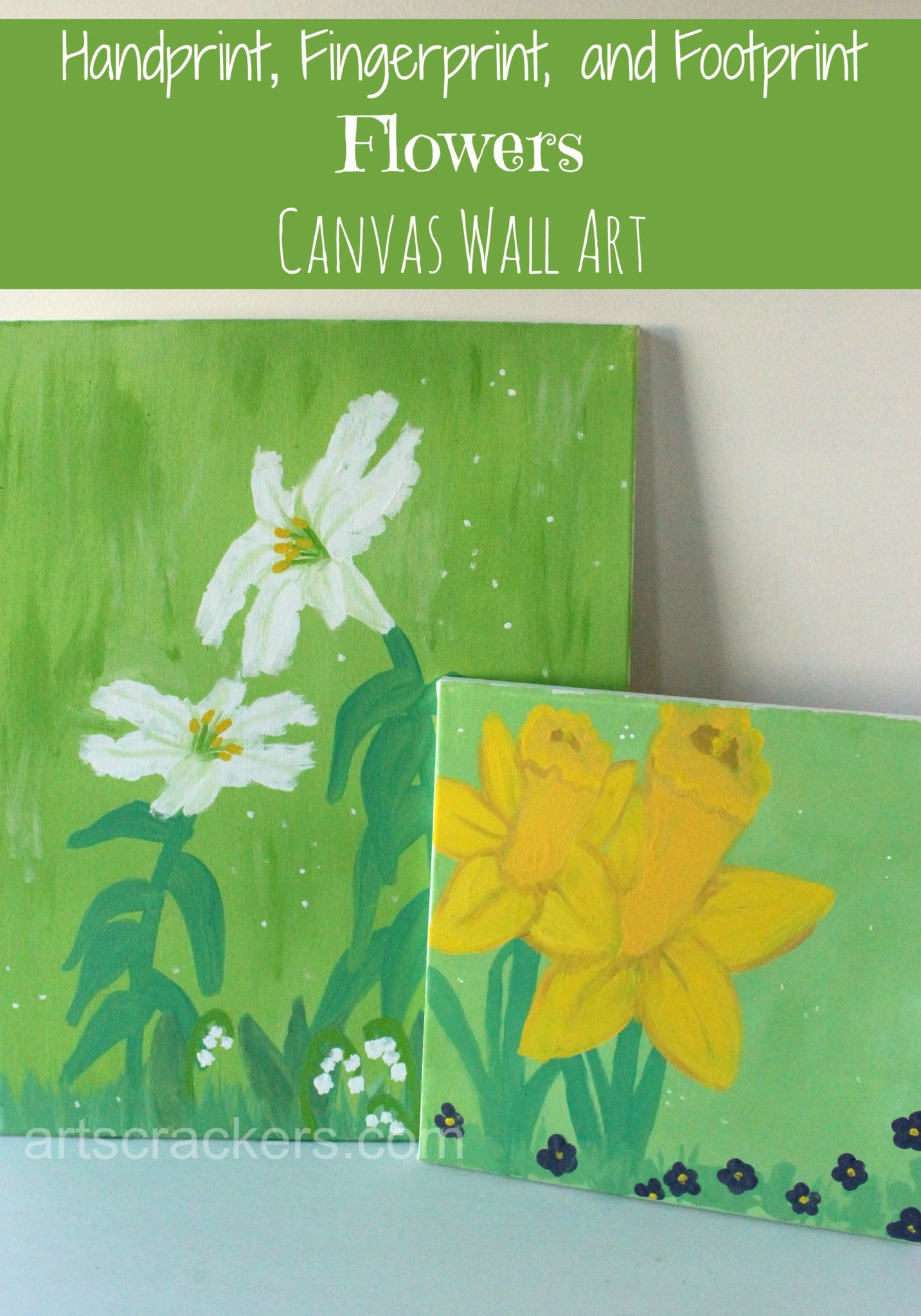 Handprint Fingerprint and Footprint Flowers Canvas Wall Art. Click the picture to view the tutorial.