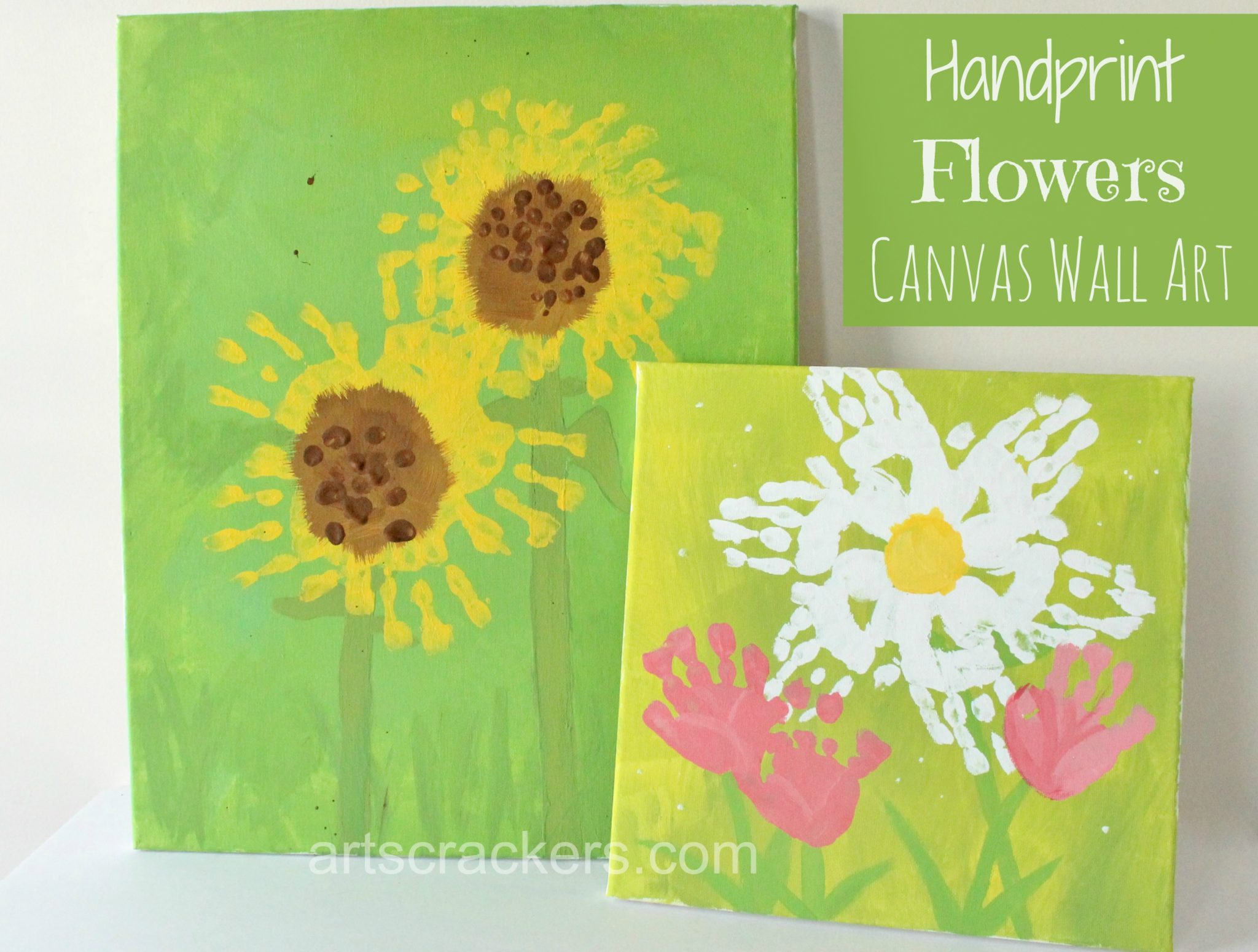 Handprint Flowers Canvas Wall Art Tutorial. Click the picture to view the instructions.