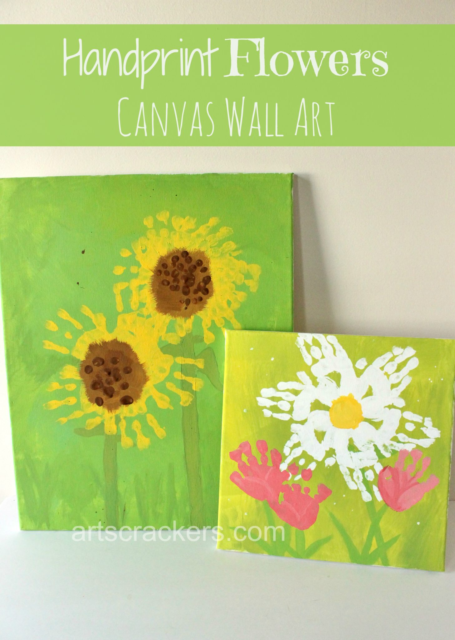 Handprint Flowers Canvas Wall Art. Click the picture to view the step-by-step tutorials.
