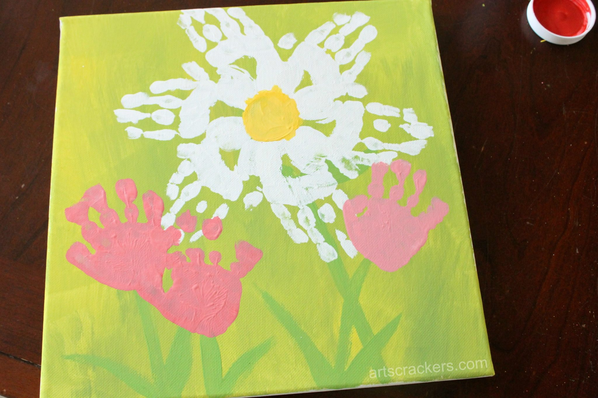 Handprint Spring Blooms Canvas Step 7