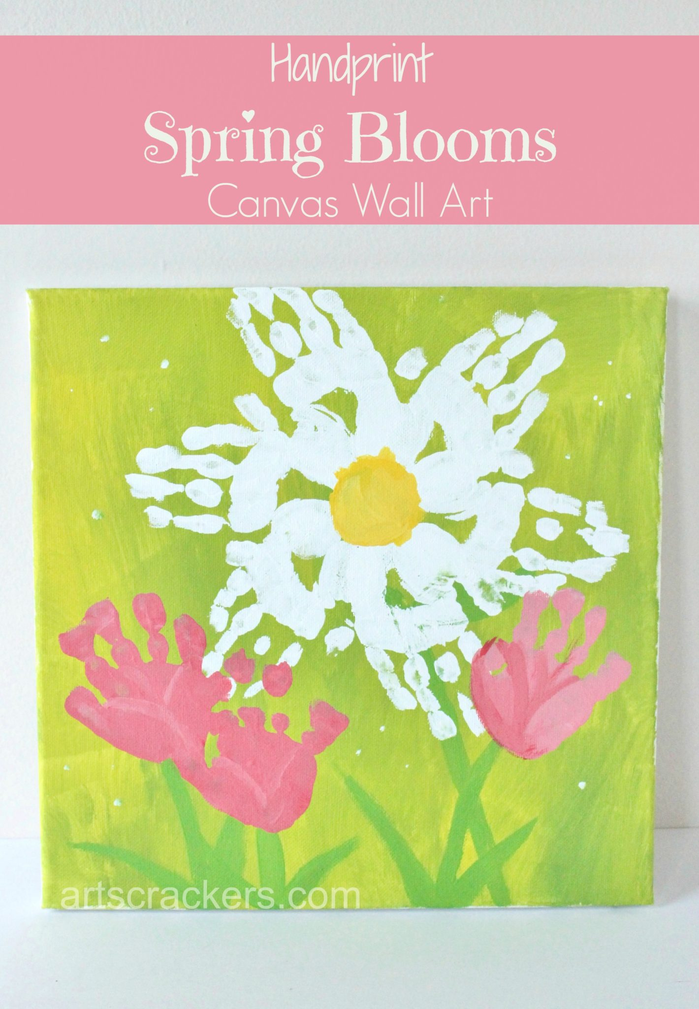 Handprint Flowers Canvas Wall Art Step By Step Tutorial
