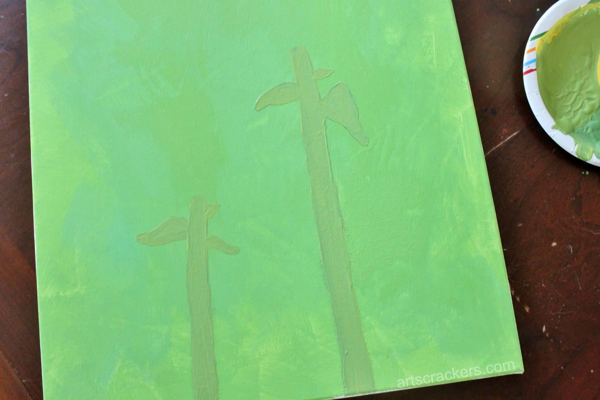 Handprint Sunflowers Canvas Step 2