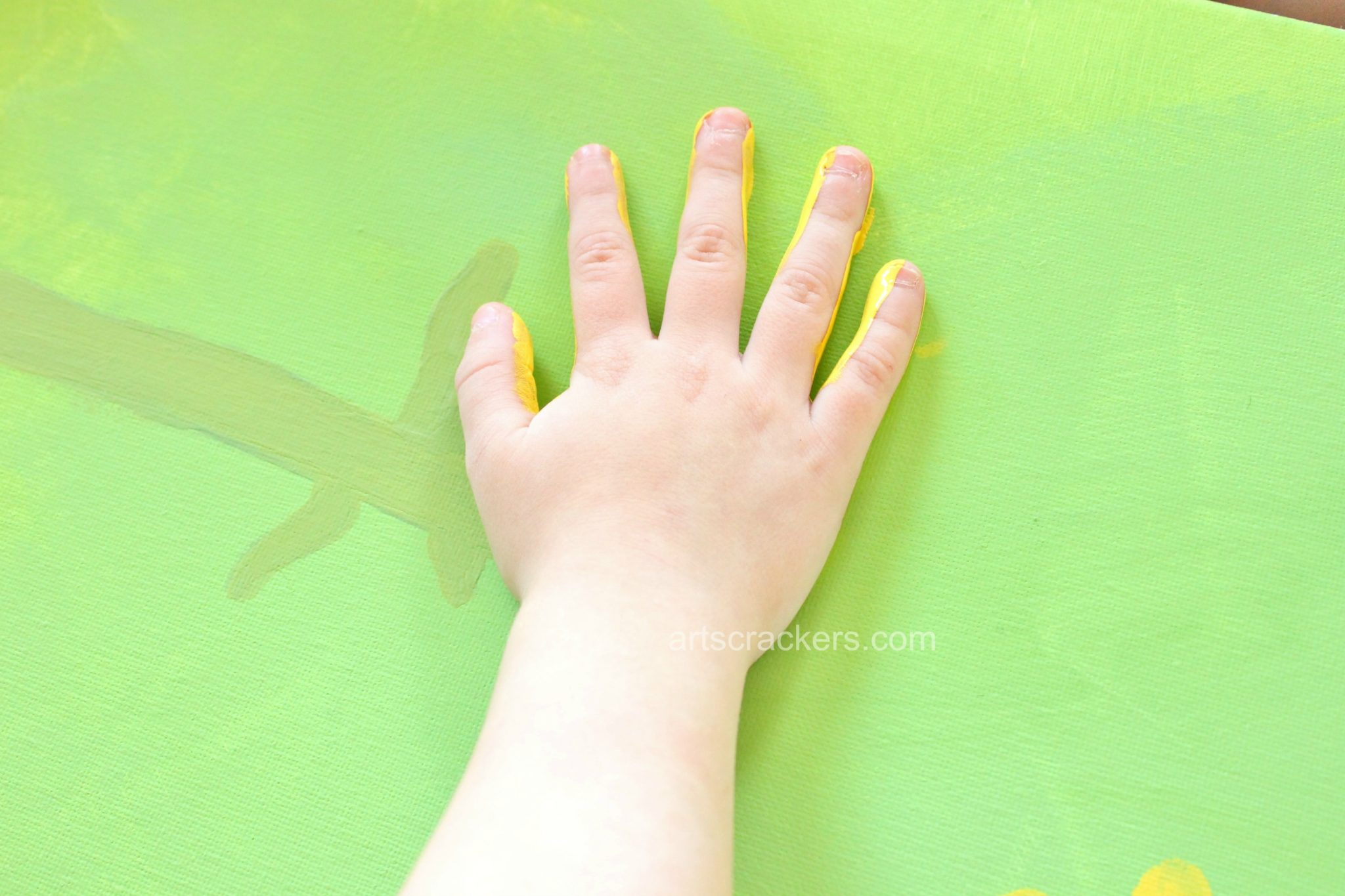 Handprint Sunflowers Canvas Step 4