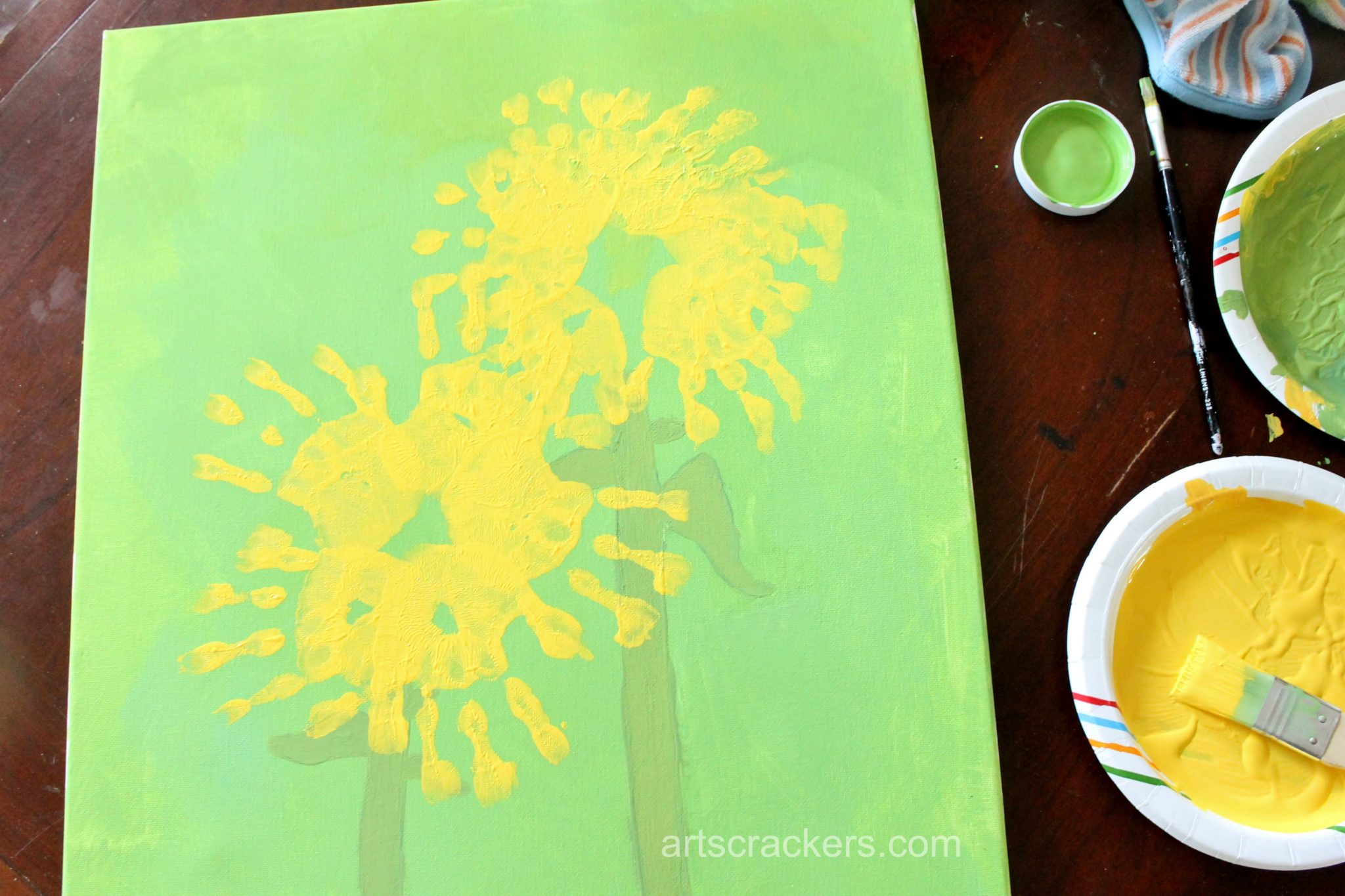 Handprint Sunflowers Canvas Step 5