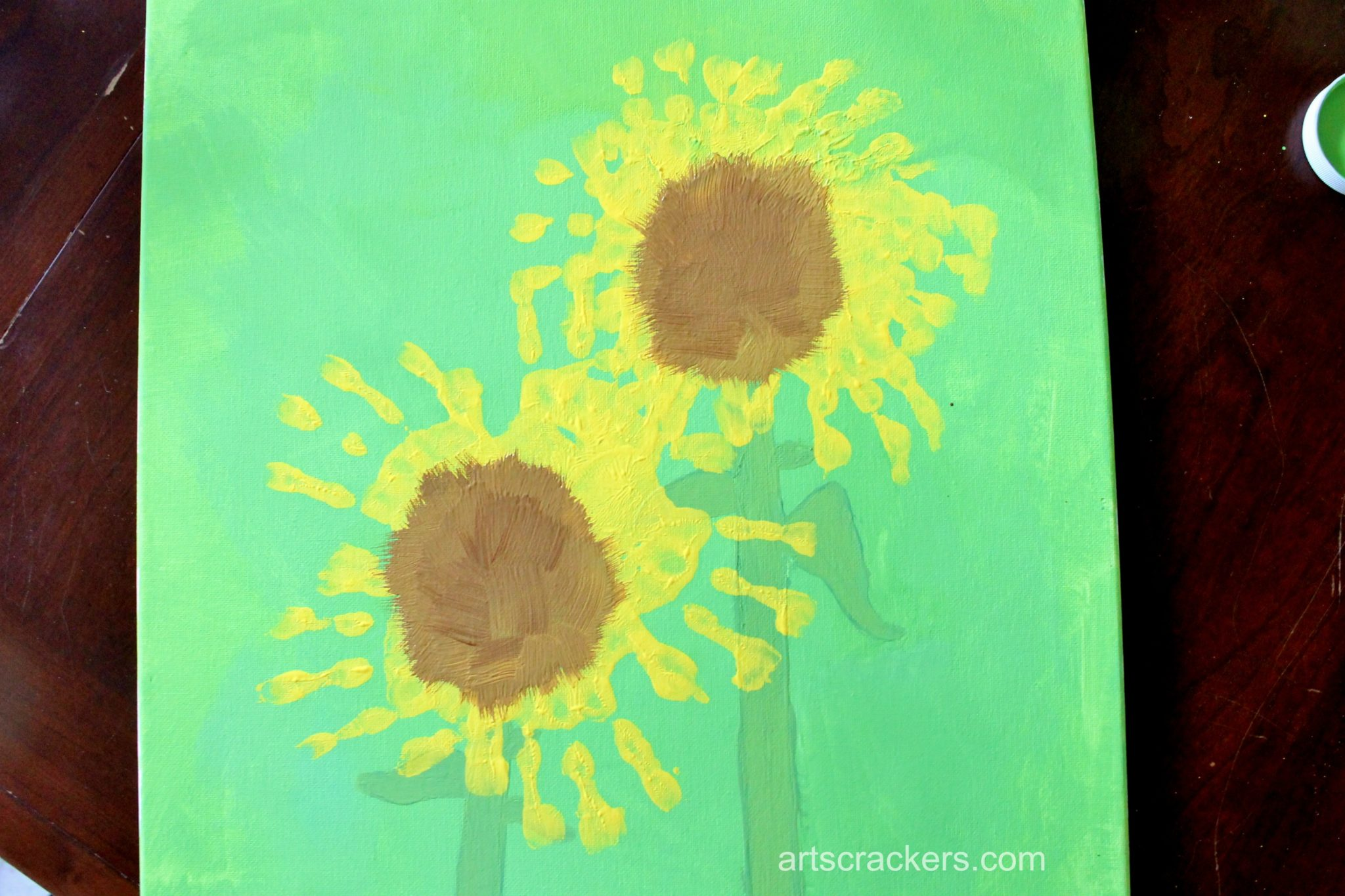 Handprint Sunflowers Canvas Step 6